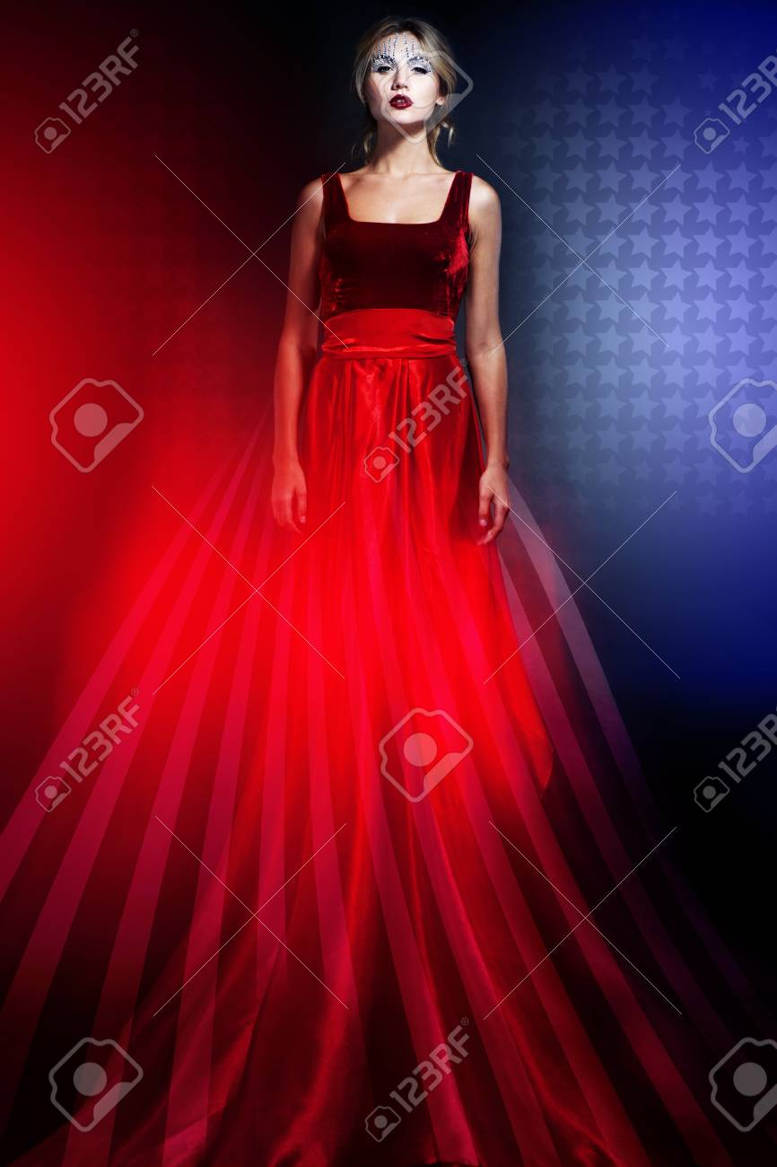 Romantic Beauty Blond Woman In Elegant Red Dress With American ...