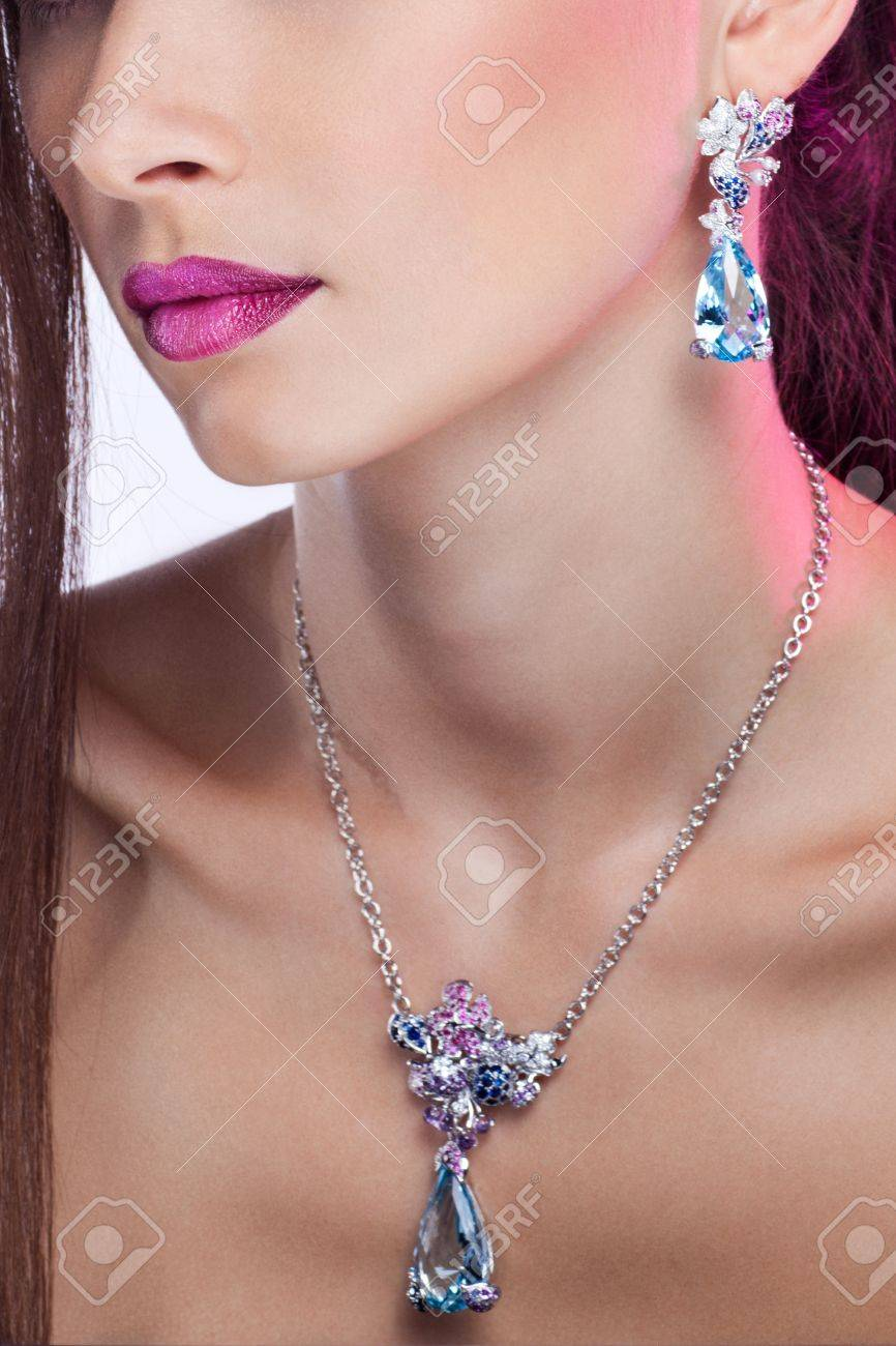 Woman posing in exclusive jewelry  Professional makeup Stock Photo - 17892299