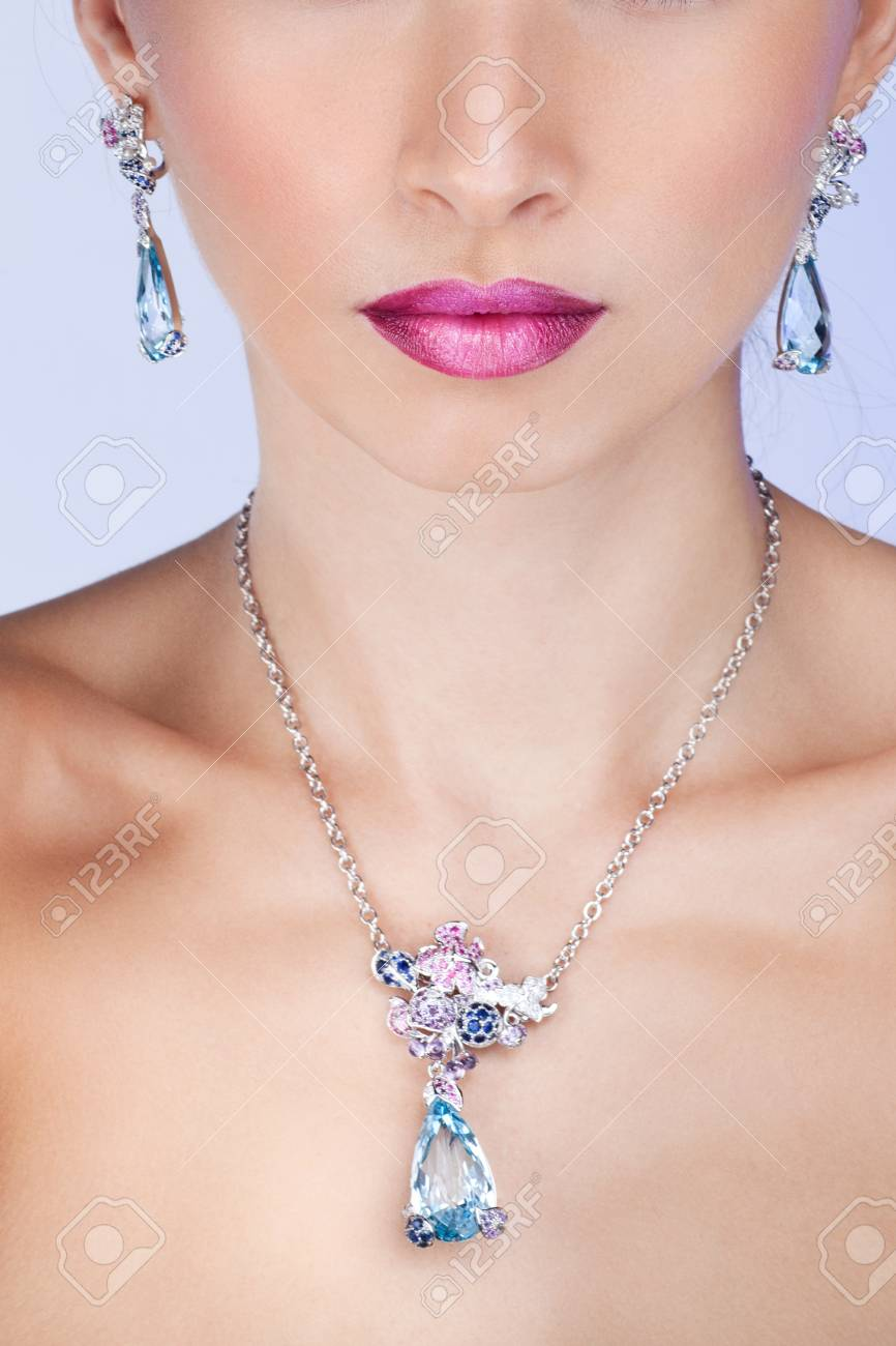 Woman posing in exclusive jewelry  Professional makeup Stock Photo - 17892274