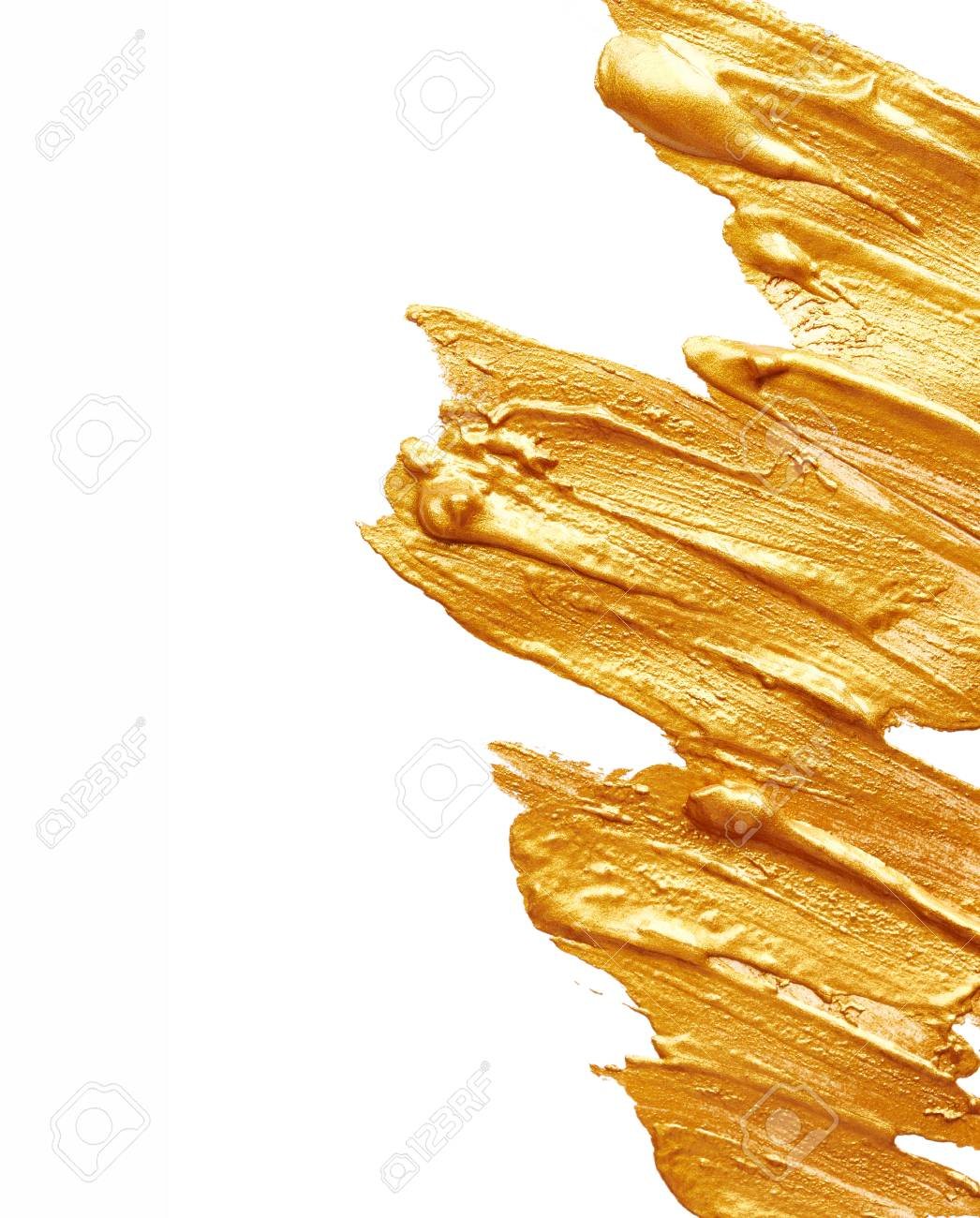 Strokes of golden paint isolated on white background - 40642754