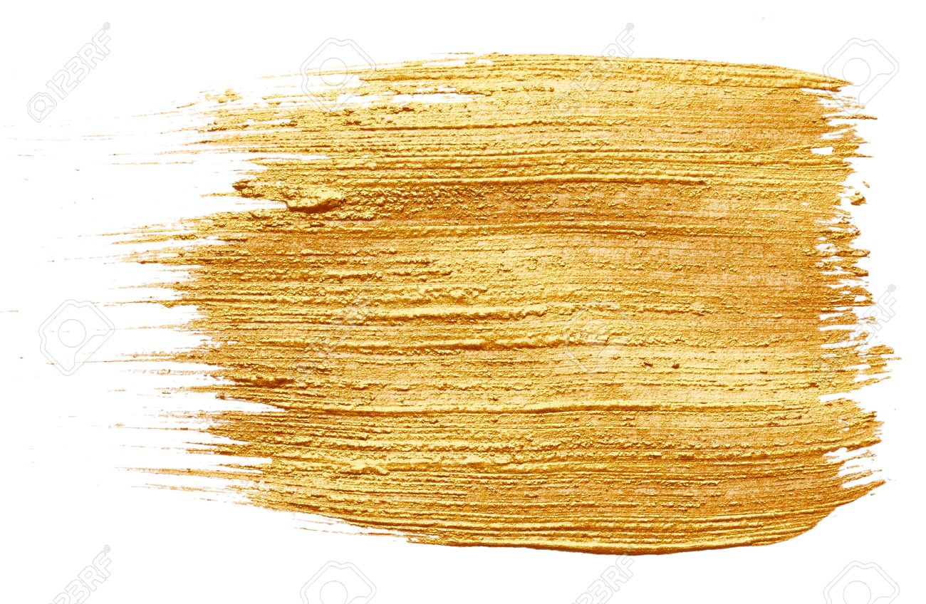 Strokes of golden paint isolated on white background - 40764419