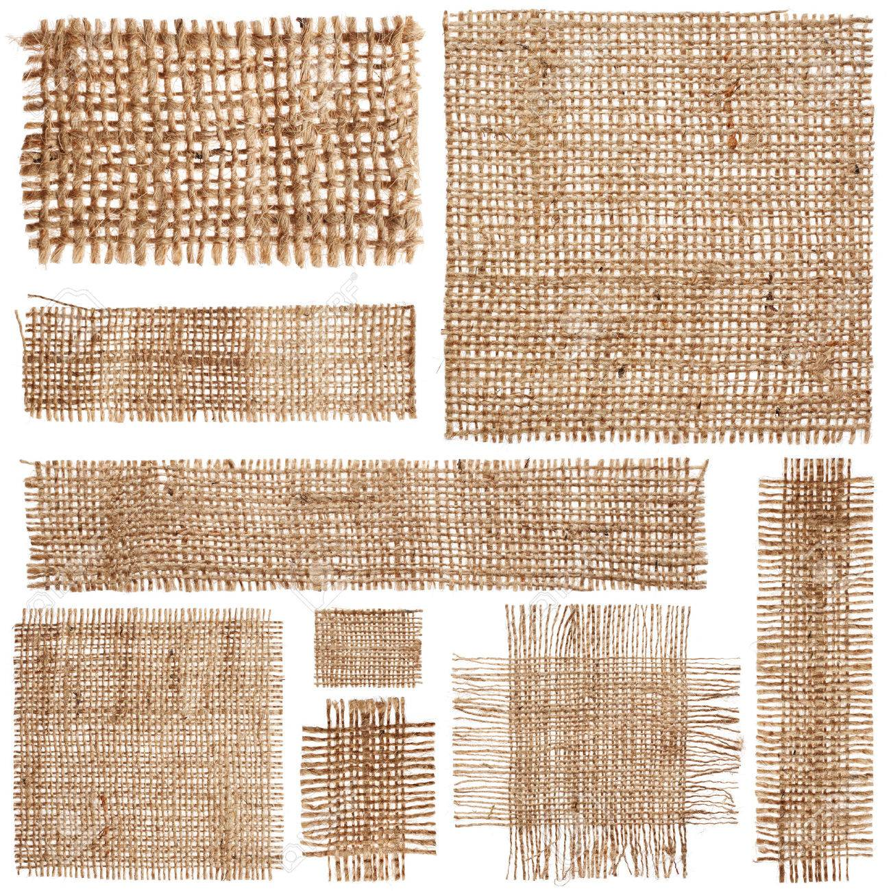 Set of pieces linen fabric isolated on white background - 43447819