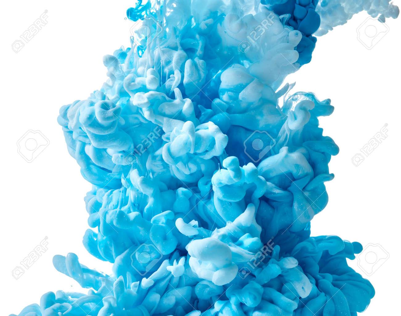 Blue paint splash isolated on white background - 165923358