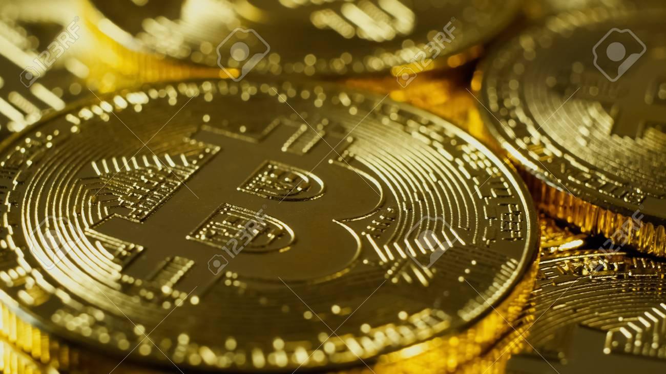 Cryptocurrency Gold Bitcoin - BTC - Bit Coin  Macro shots crypto
