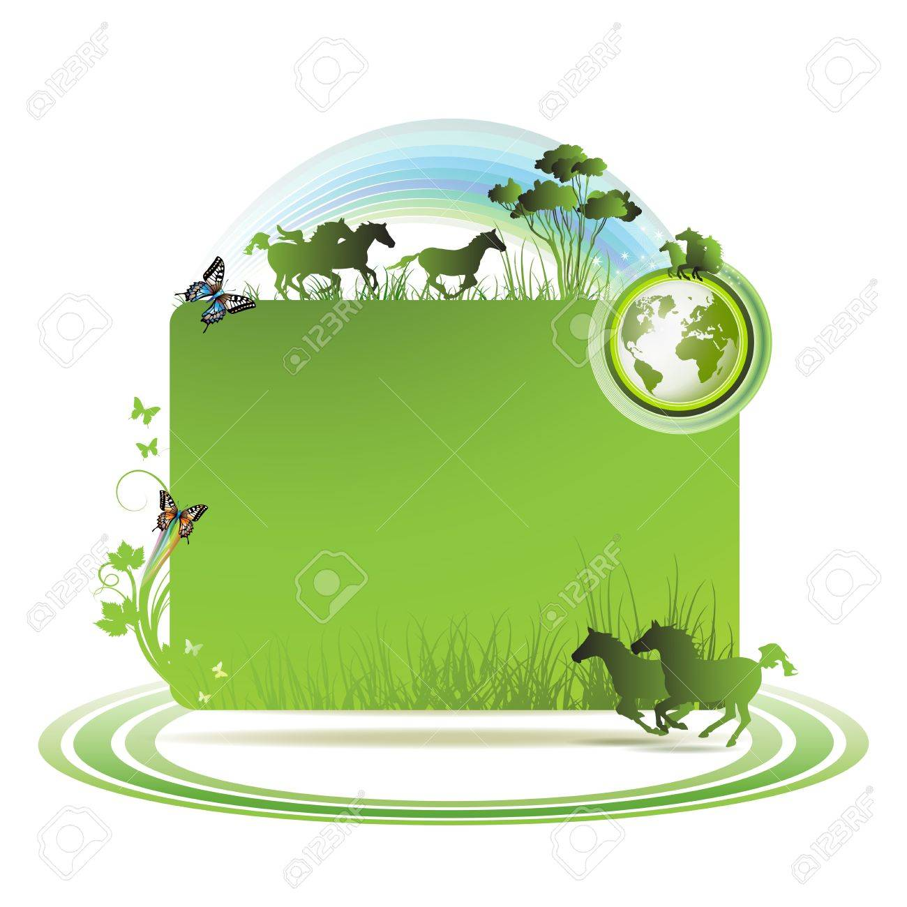 Green earth background with horses and butterflies Stock Vector - 9096065