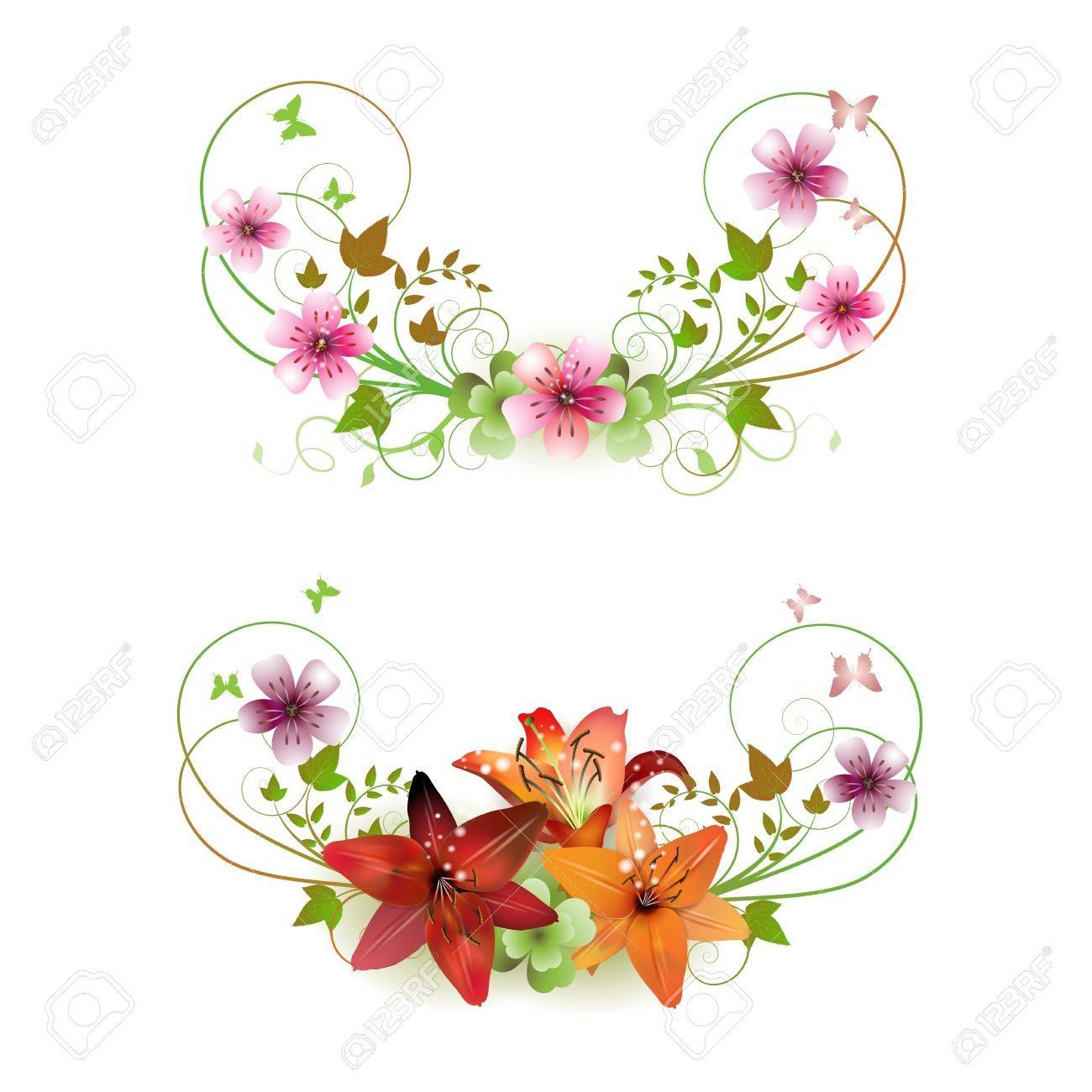 Flowers arrangement and butterflies lilies of different colors flowers arrangement and butterflies lilies of different colors stock vector 9100410 dhlflorist Choice Image