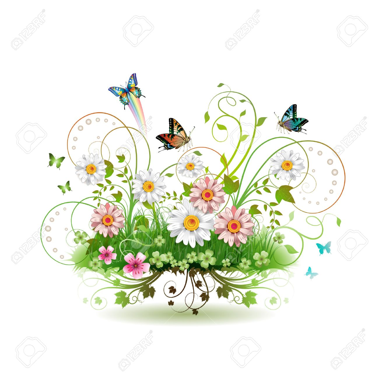 Flowers in the grass and butterflies Stock Vector - 8804154