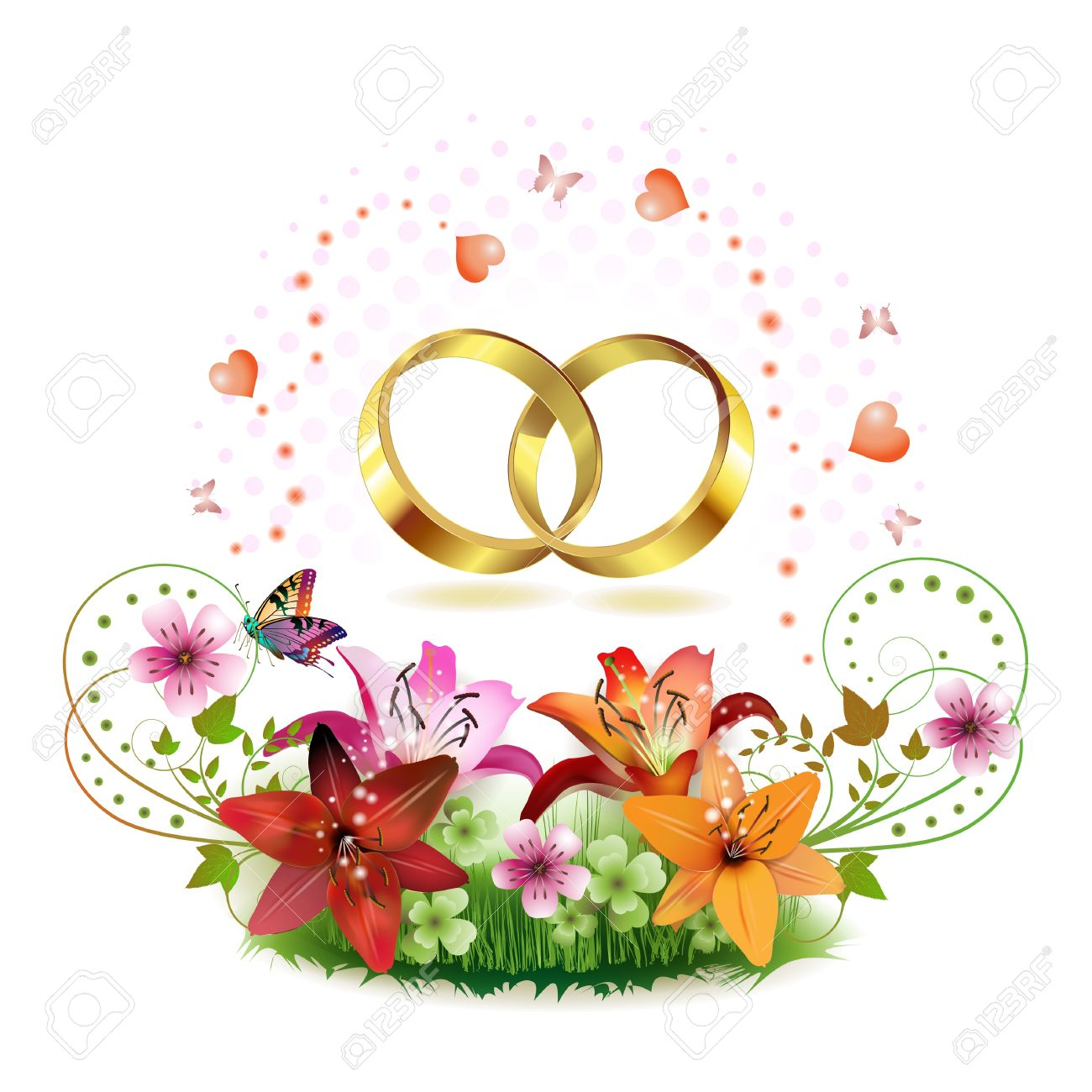 Two Wedding Ring With Hearts And Decorated Flowers Isolated On White Background Stock Vector