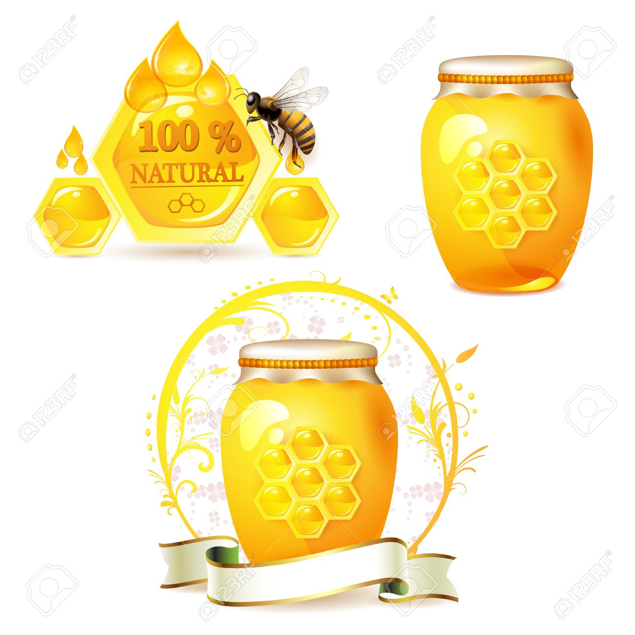 Glass jar with honey and bee isolated on white Stock Vector - 9321360