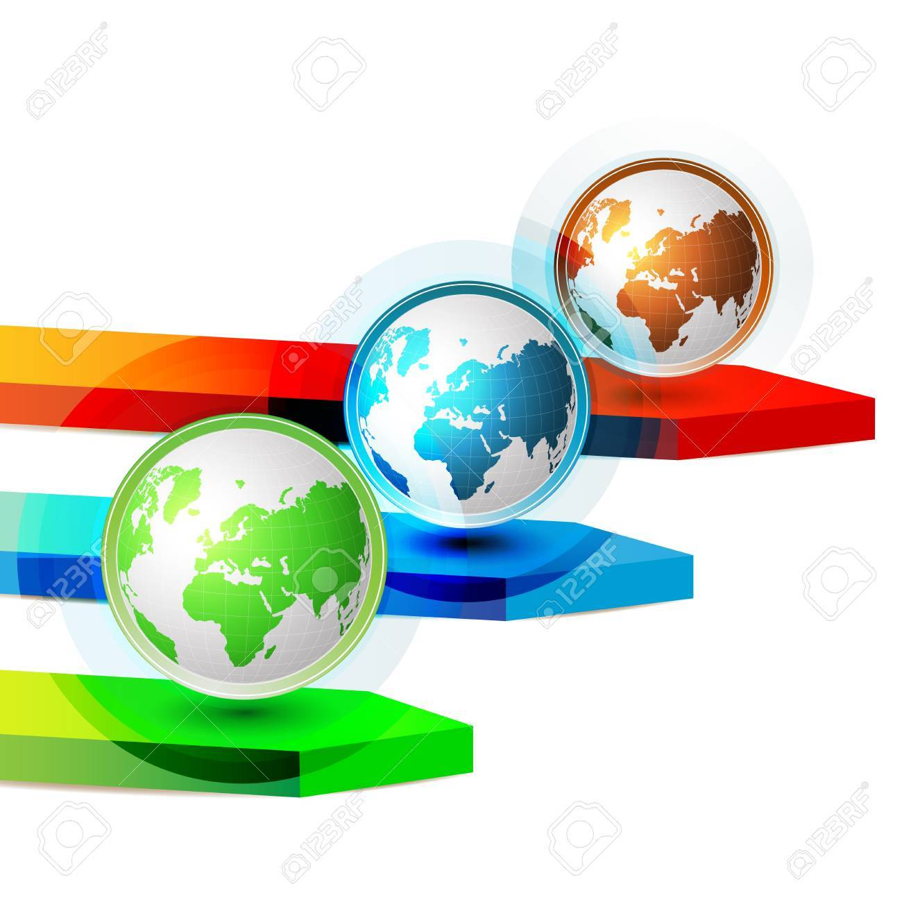 Green blue and red Earth with colored arrows Stock Vector - 9508513