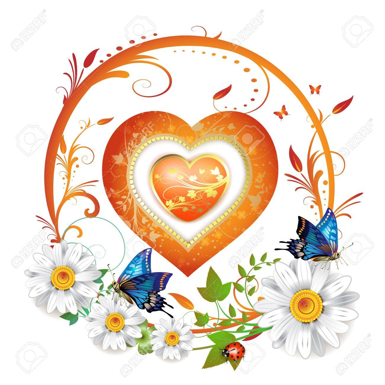 Valentine's day card. Heart and butterflies Stock Vector - 9508517