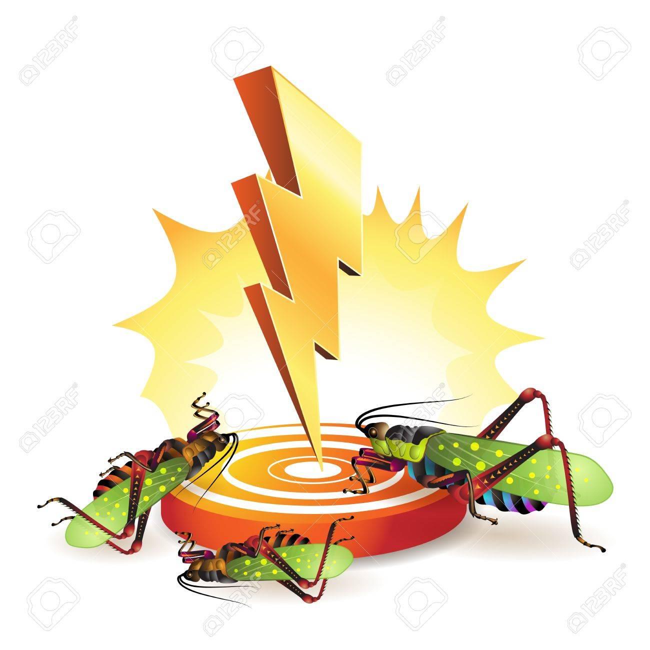 Powerful lightning bolt targeting grasshoppers Stock Vector - 9508499