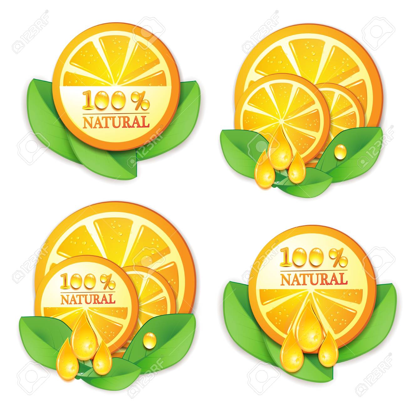 Slices orange with leaf isolated on white background Stock Vector - 9508522