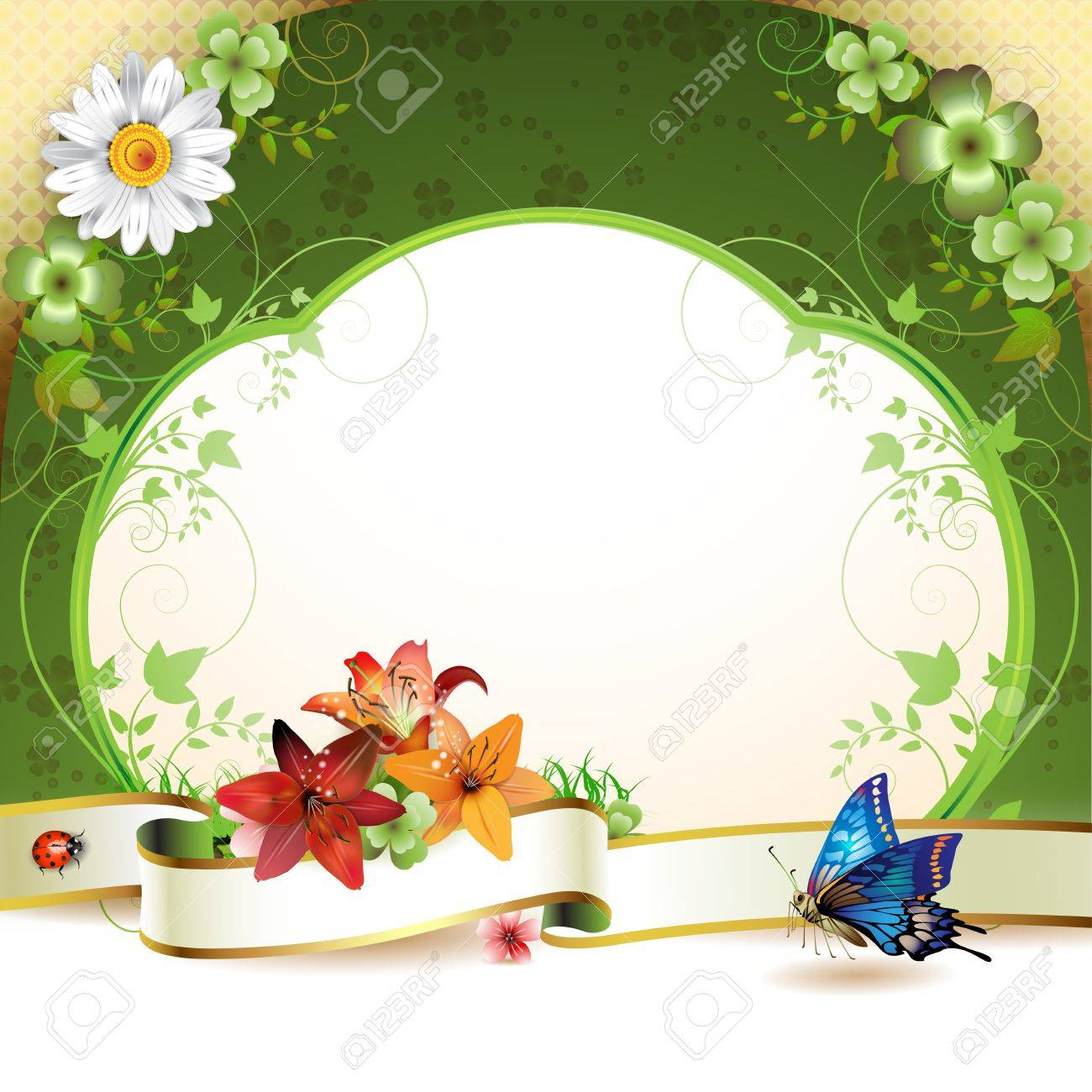 Banner with flowers and butterflies Stock Vector - 9504751