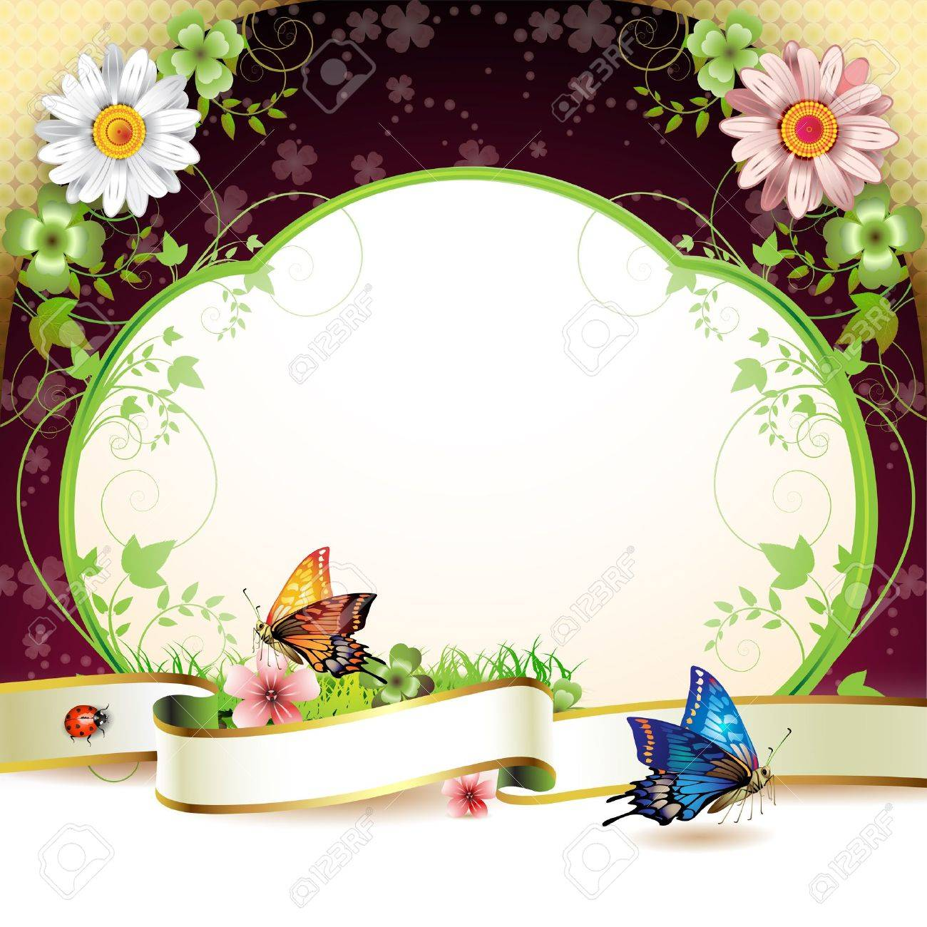 Banner with flowers and butterflies Stock Vector - 9504747