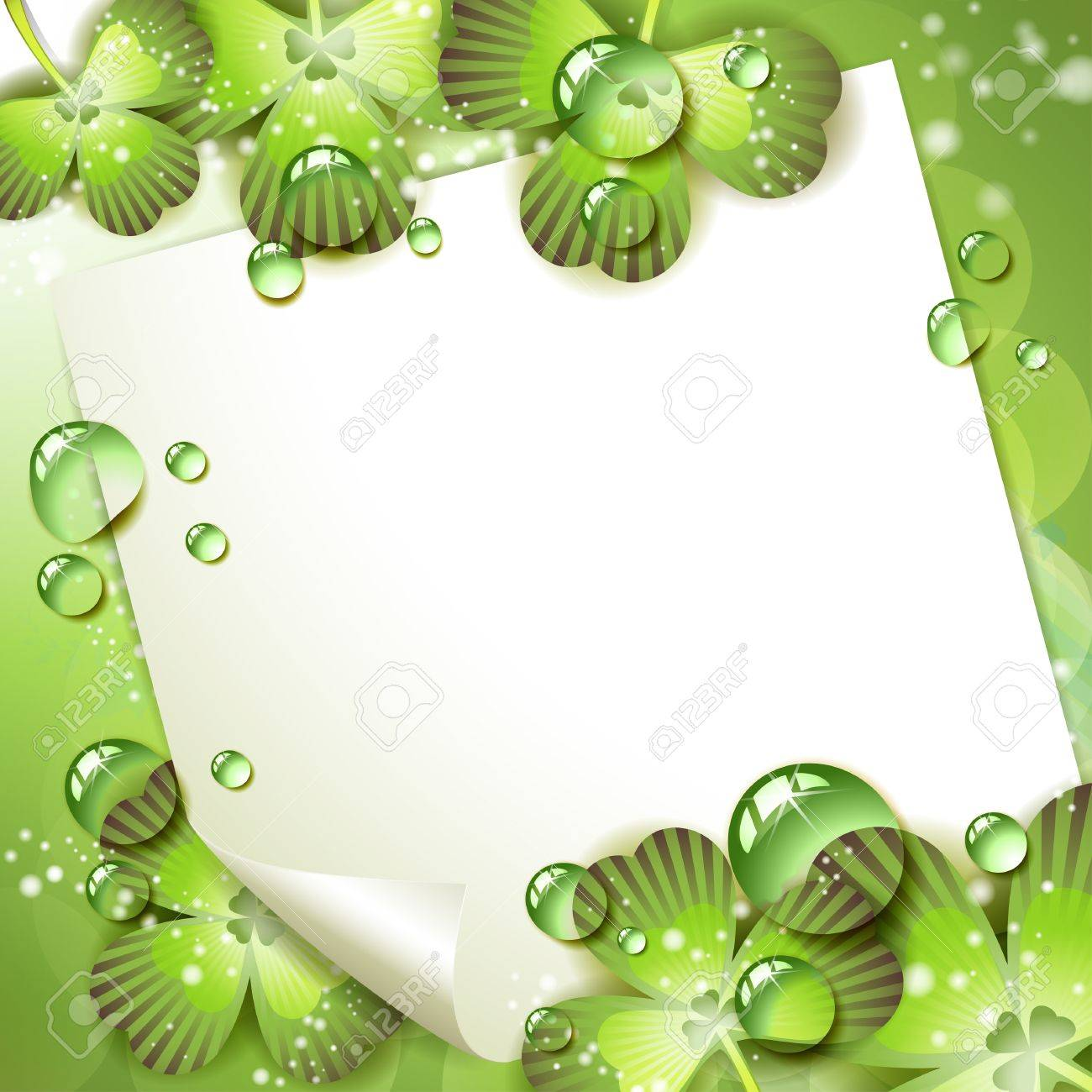 Sheet of paper and clover over springtime background Stock Vector - 9667780