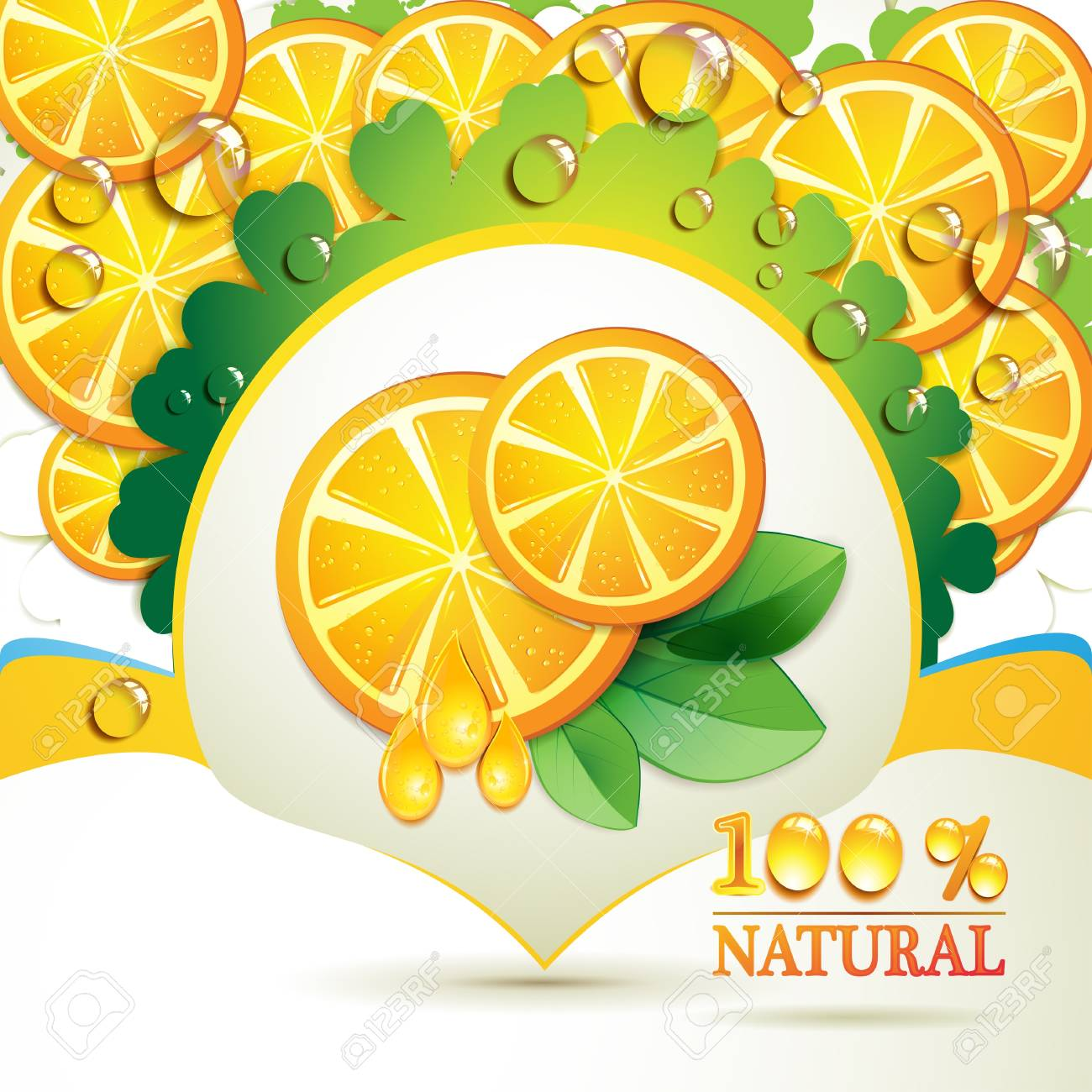 Slices orange with leaf and drops Stock Vector - 9719187