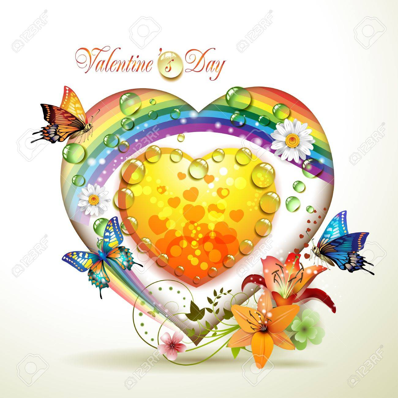Valentine's day card. Heart with lily and butterflies Stock Vector - 9719165