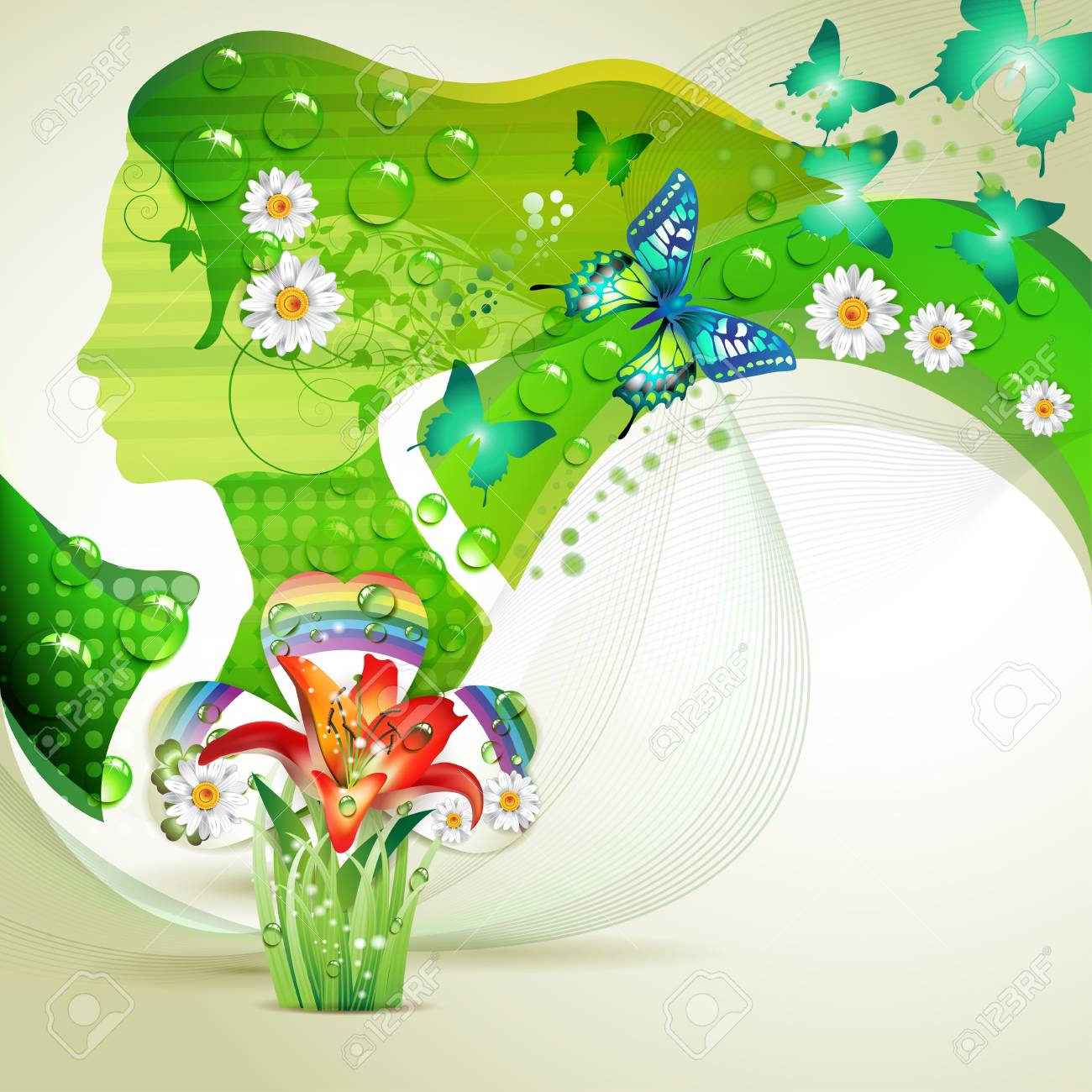 Stylized green portrait with butterflies and flowers Stock Vector - 9932623