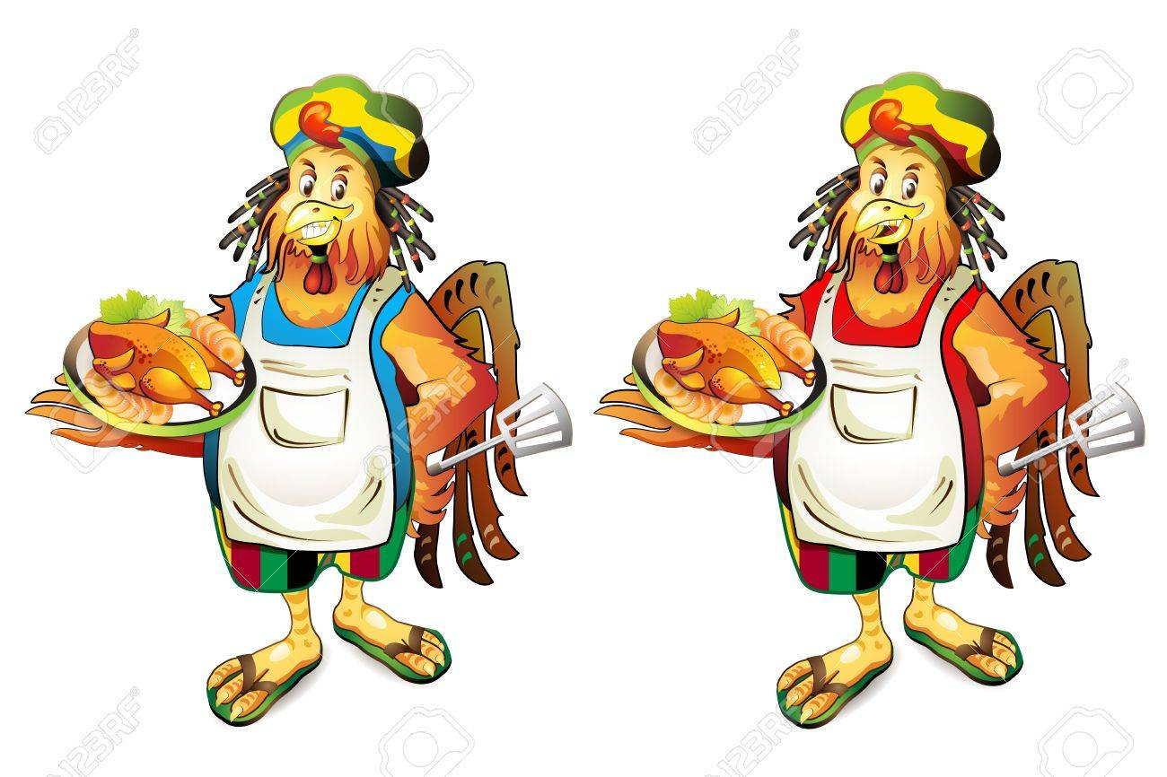 Cartoon cook coconut with smoked chicke Stock Vector - 10641538
