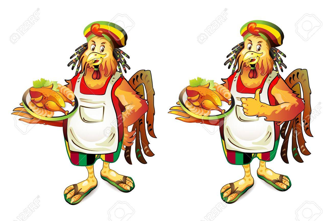 Cartoon cook coconut with smoked chicken Stock Vector - 10641537