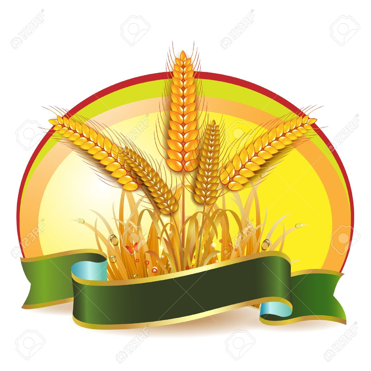Wheat ears with ribbon Stock Vector - 10641529