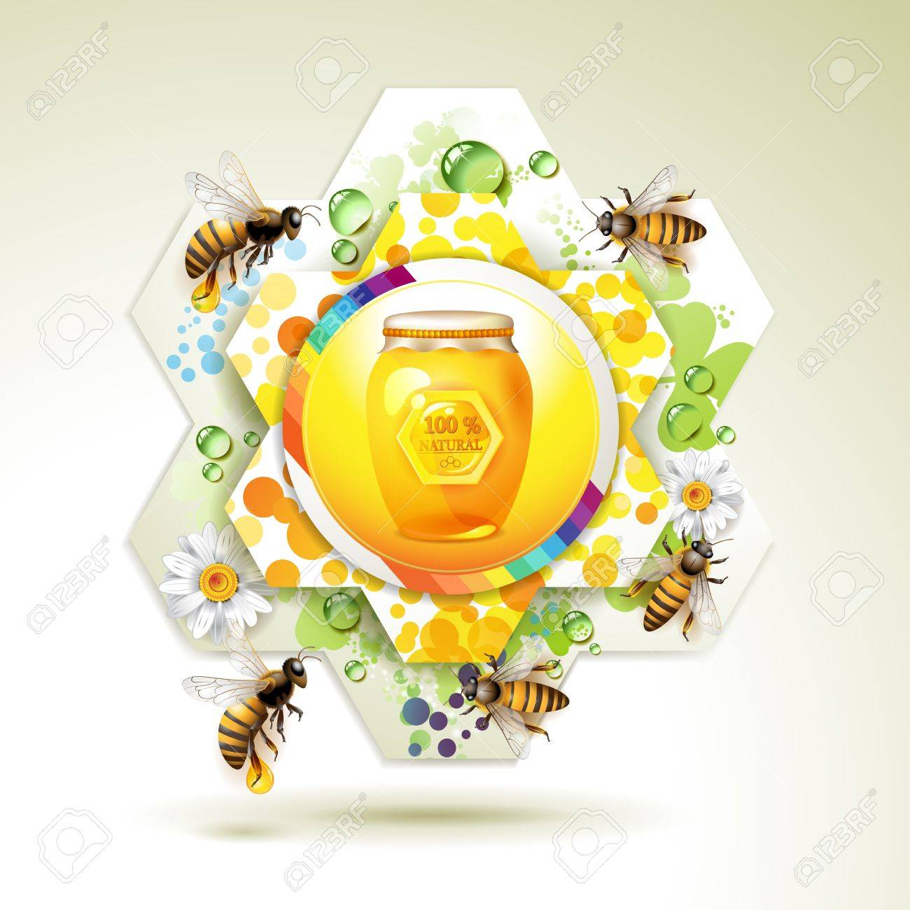 Glass jar with bee and honeycomb over floral background Stock Vector - 11660723