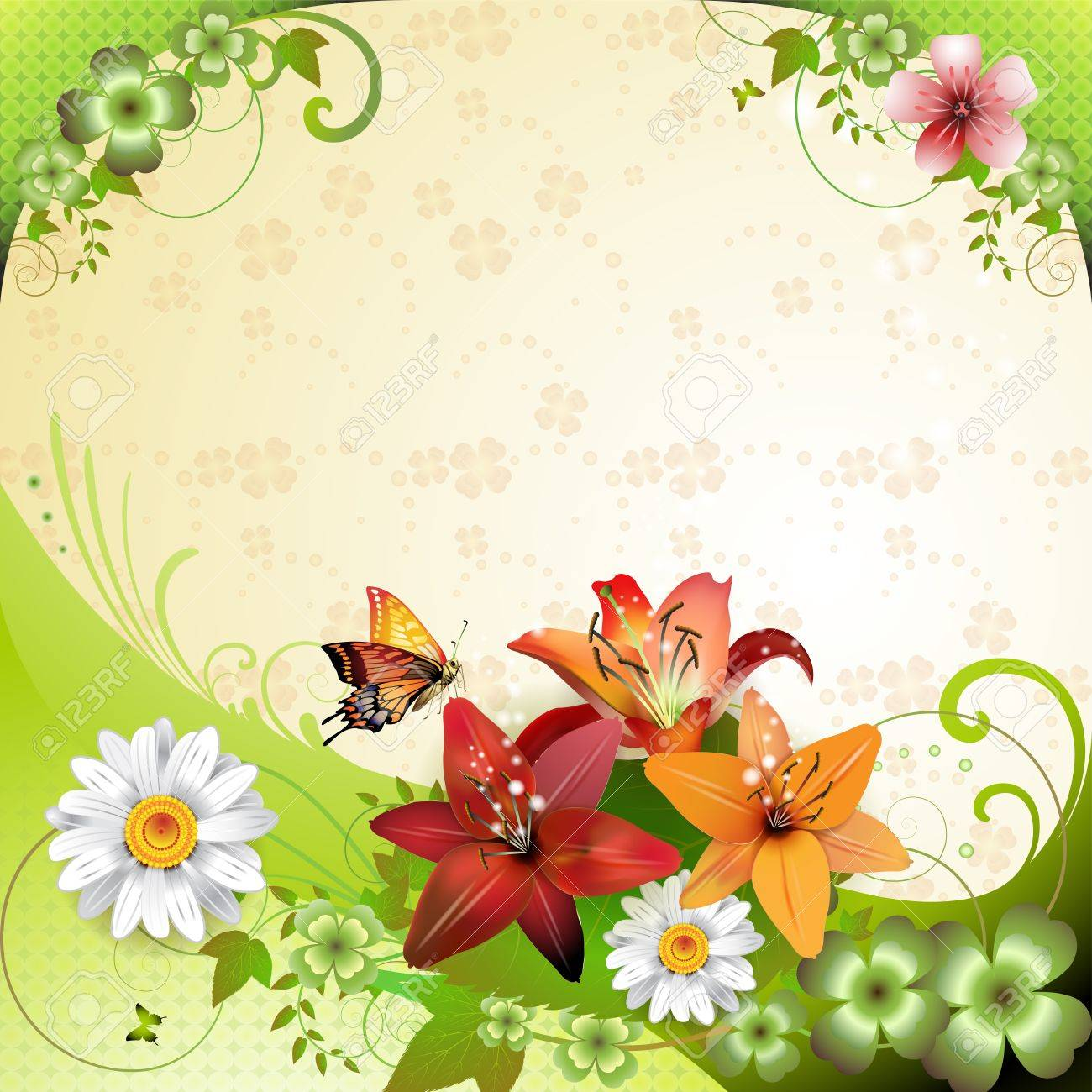 Primavera de fondo con flores y mariposas Foto de archivo - 12071234