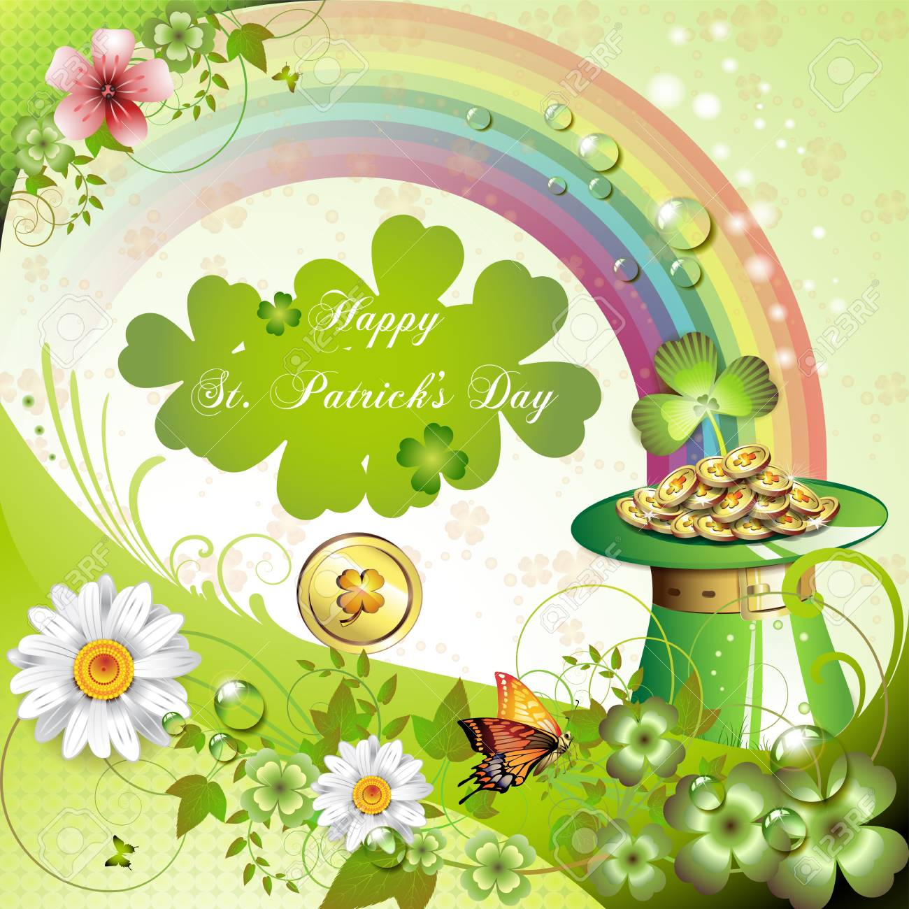 St. Patrick s Day card design with clover and coins Stock Vector - 12410880