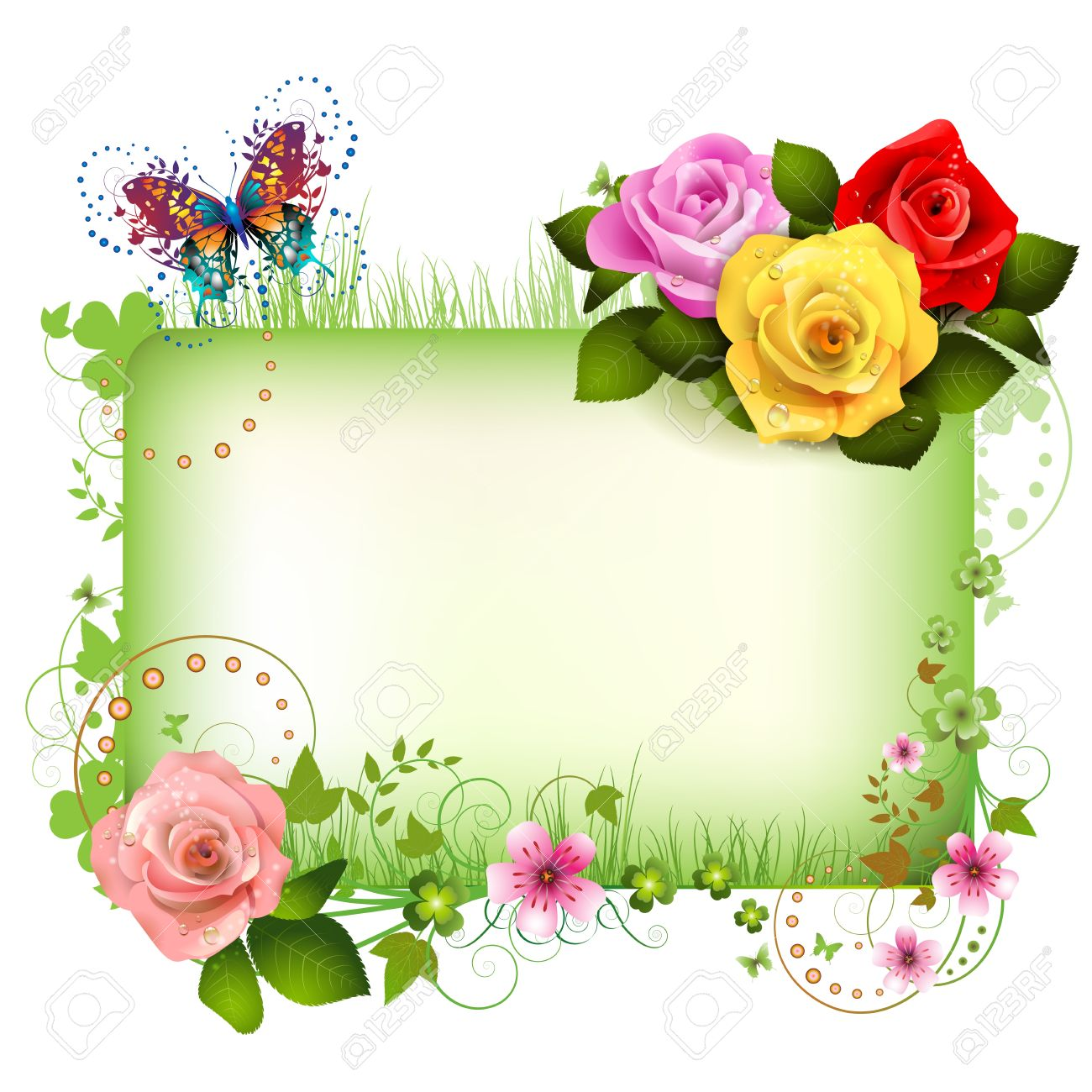 Banner with flowers and butterflies Stock Vector - 12774117