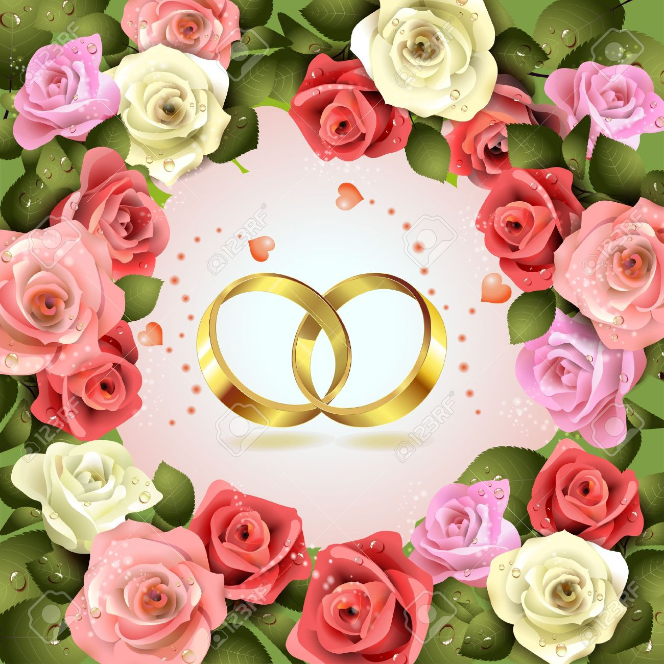 Two Wedding Rings With Hearts And Flowers Royalty Free Cliparts