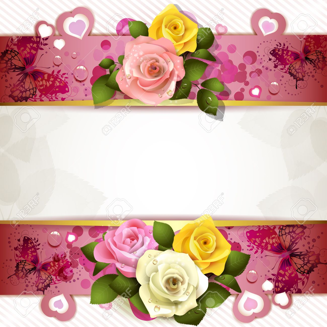 background with butterflies hearts and roses for valentine s