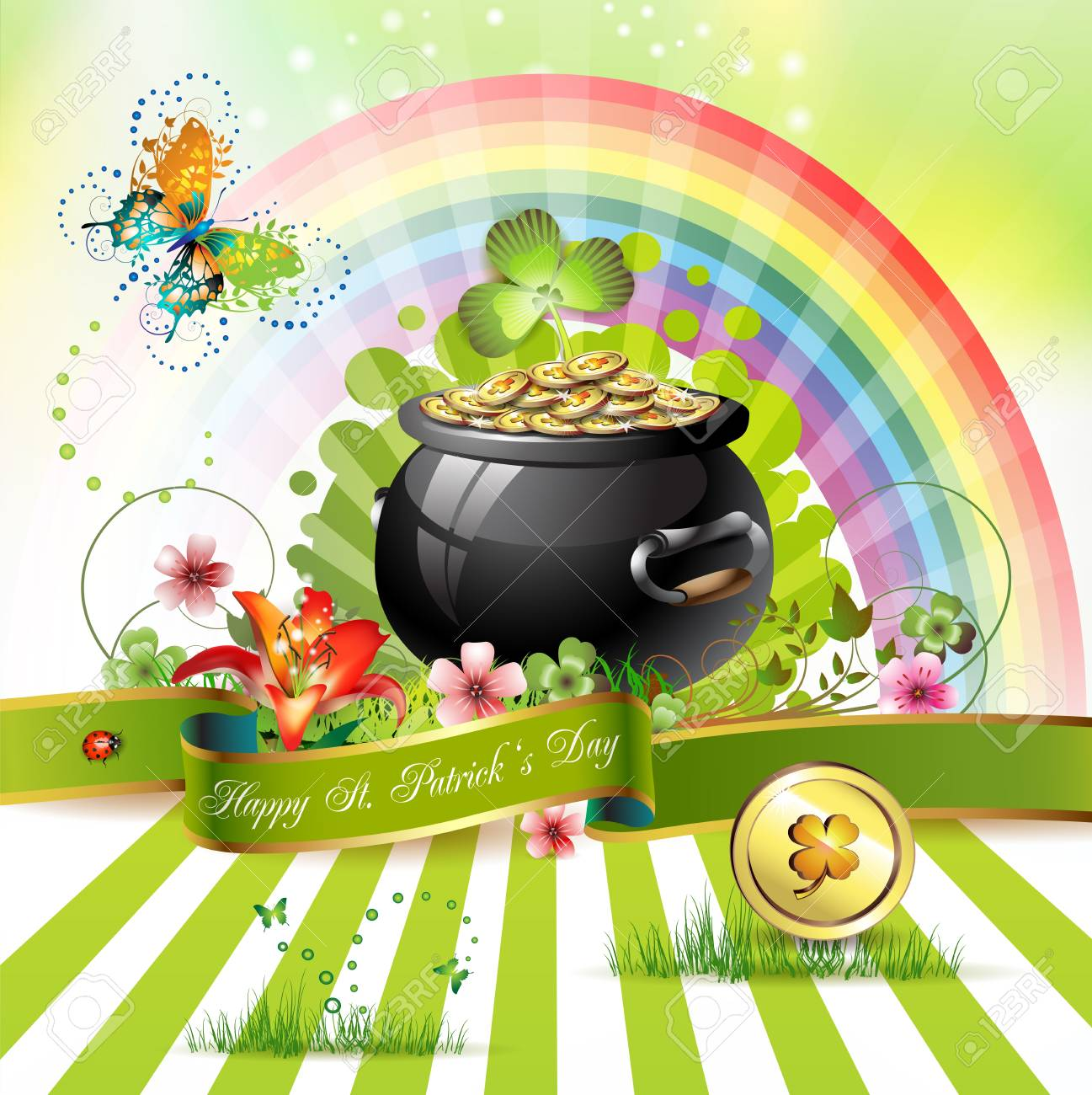 St  Patrick s Day card design with clover and coins Stock Vector - 12774282