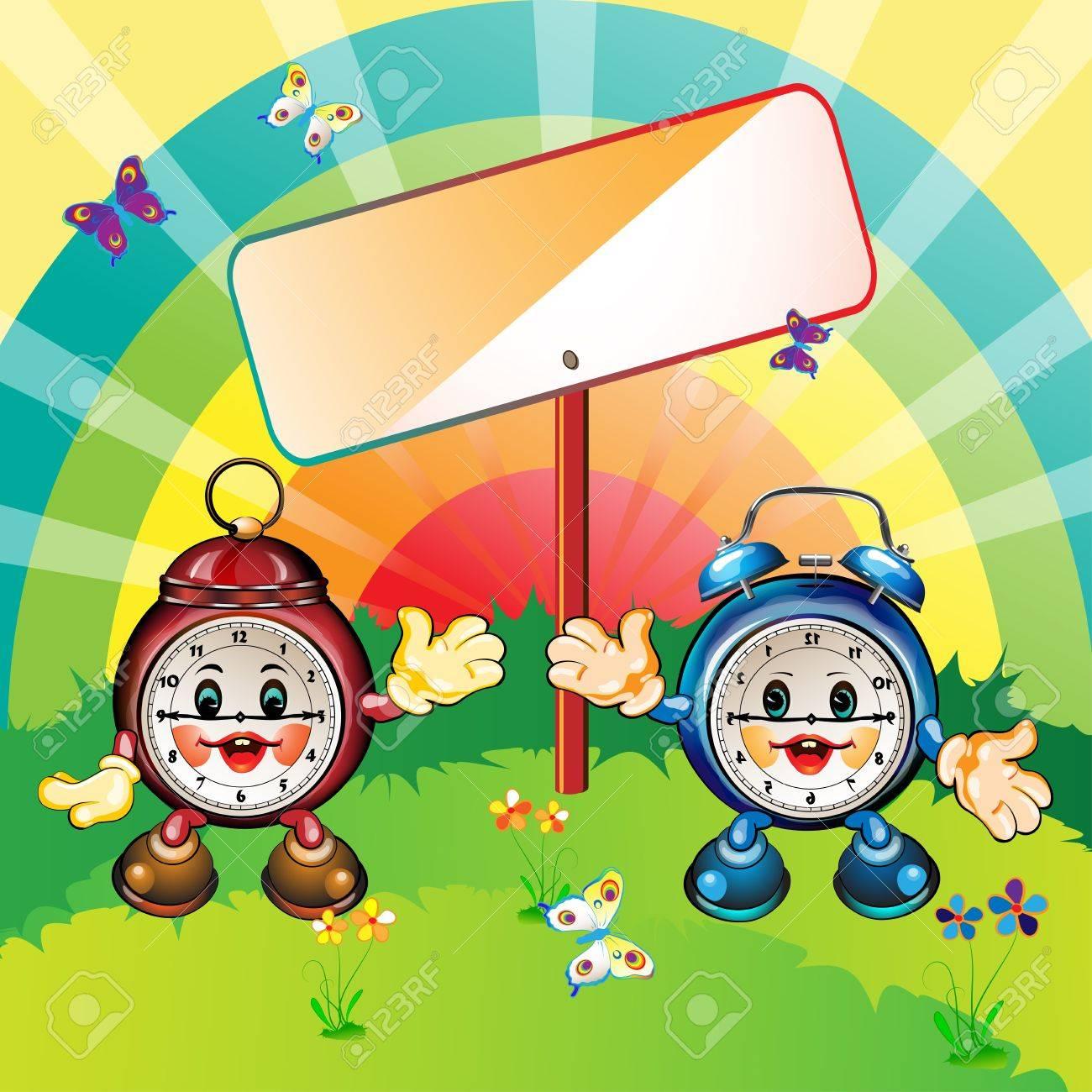 Cute and happy cartoon clocks, park outdoor, card illustration Stock Vector - 12984536