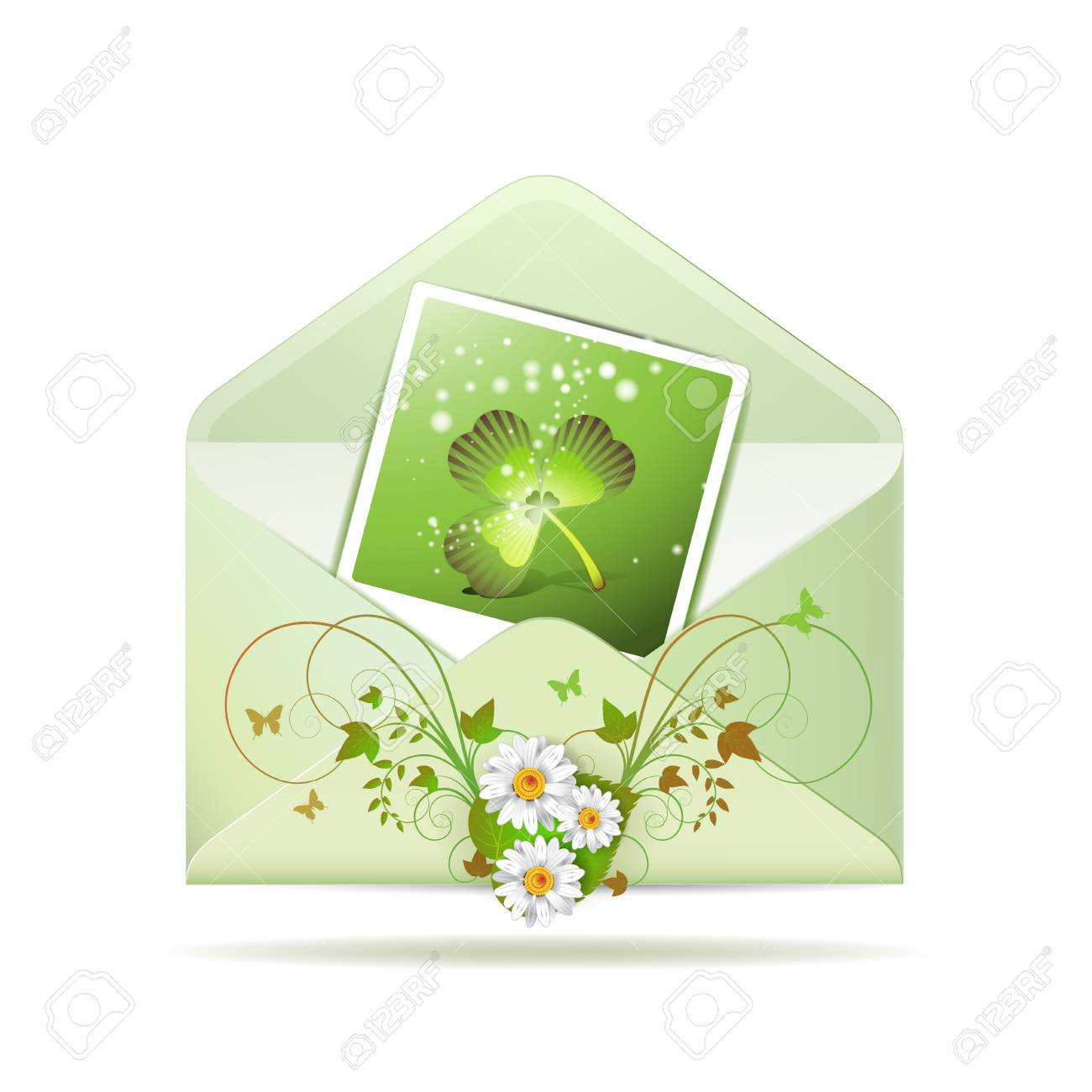 Envelope with photo and clover for St  Patrick s Day Stock Vector - 13060399