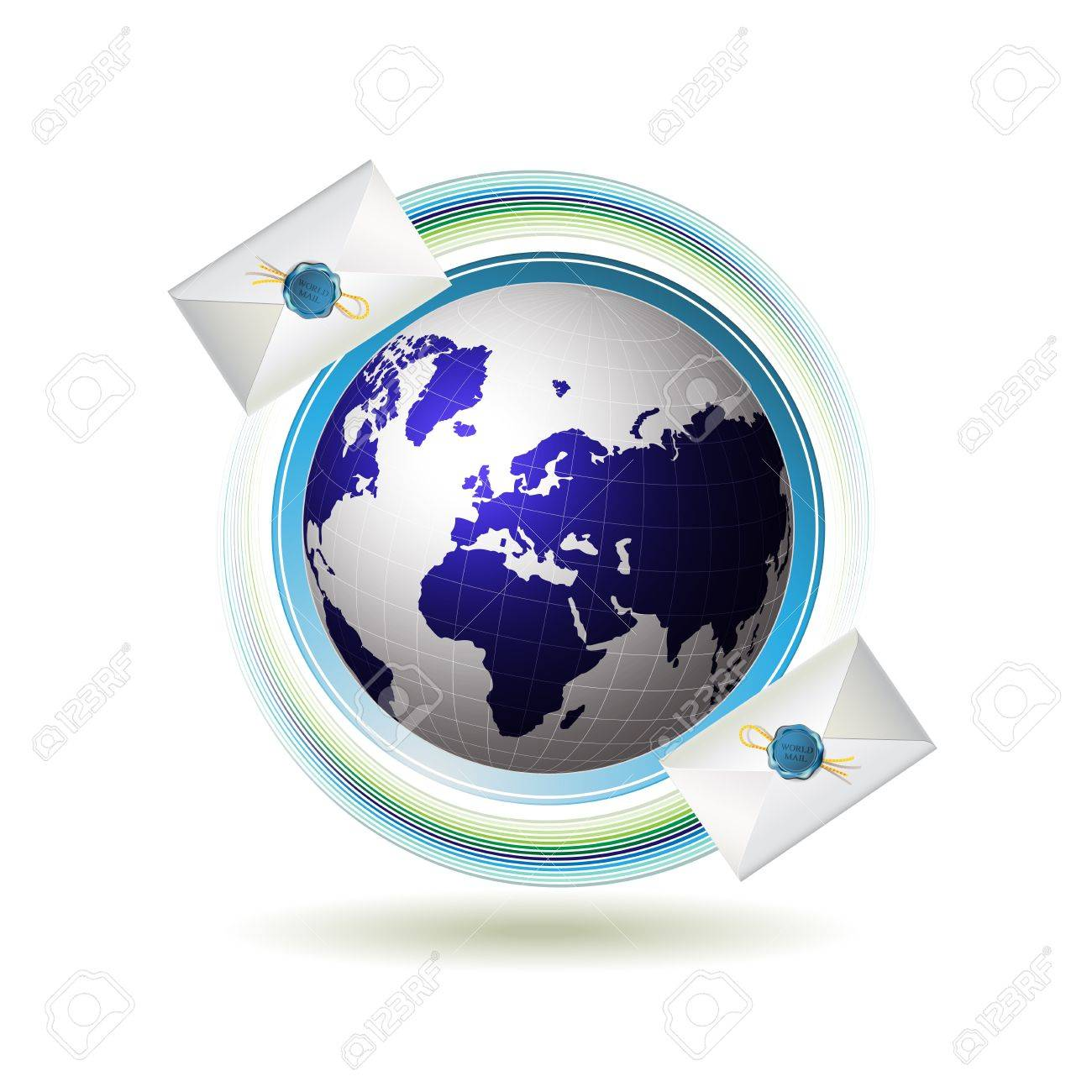 Mail icon with Earth and envelope Stock Vector - 13007715