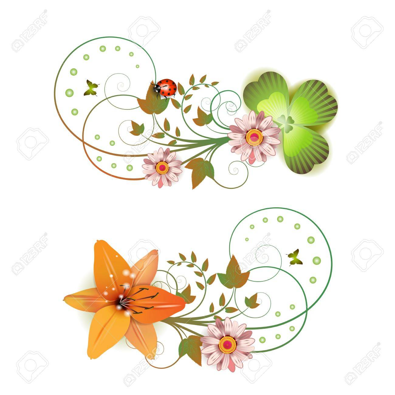Flowers arrangement and butterflies Stock Vector - 13007753