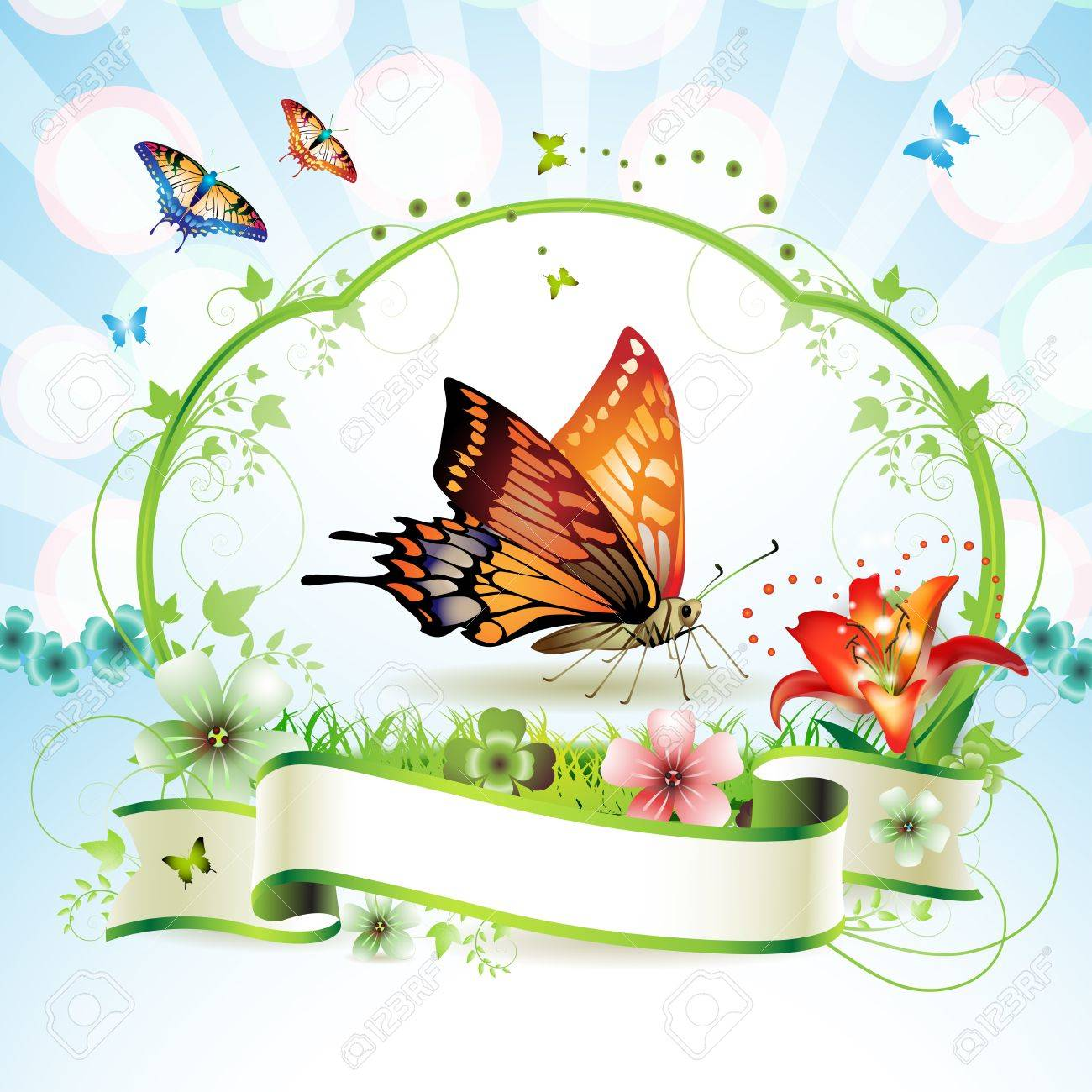 Red butterfly with flowers and ribbon Stock Vector - 13007752