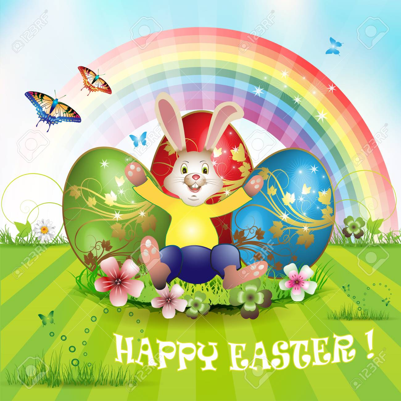Easter card with bunny, butterflies and decorated egg on grass Stock Vector - 13007786