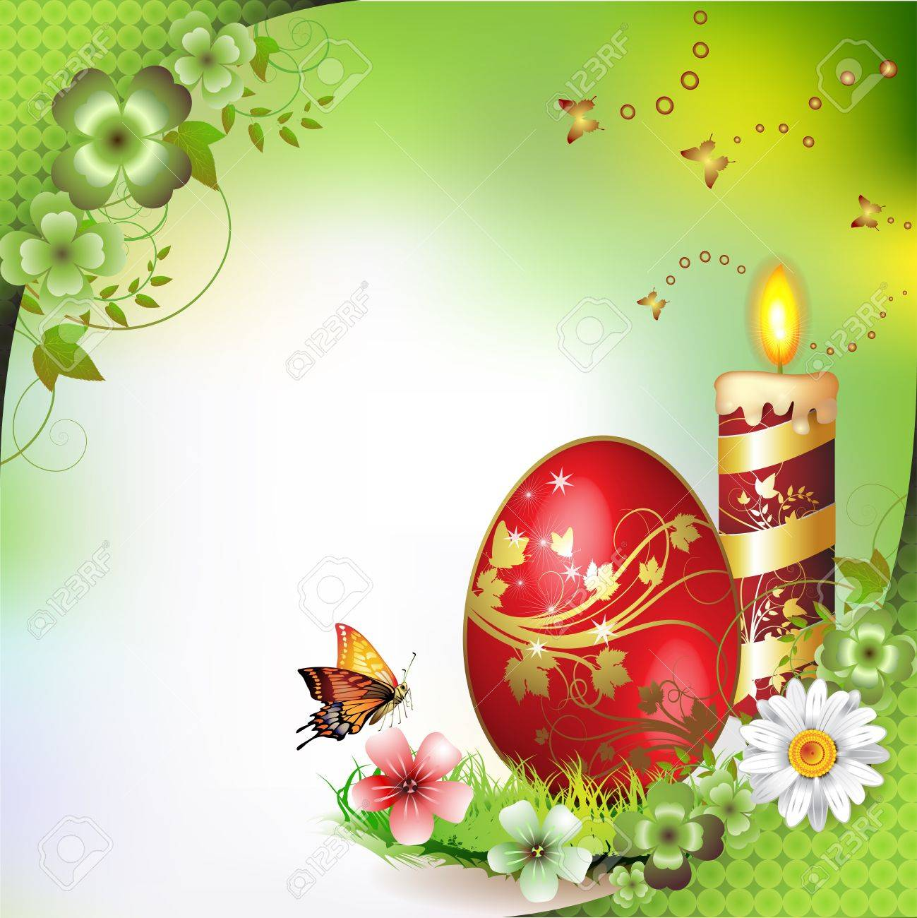 Easter card with butterflies, candle and decorated egg on grass Stock Vector - 13007770