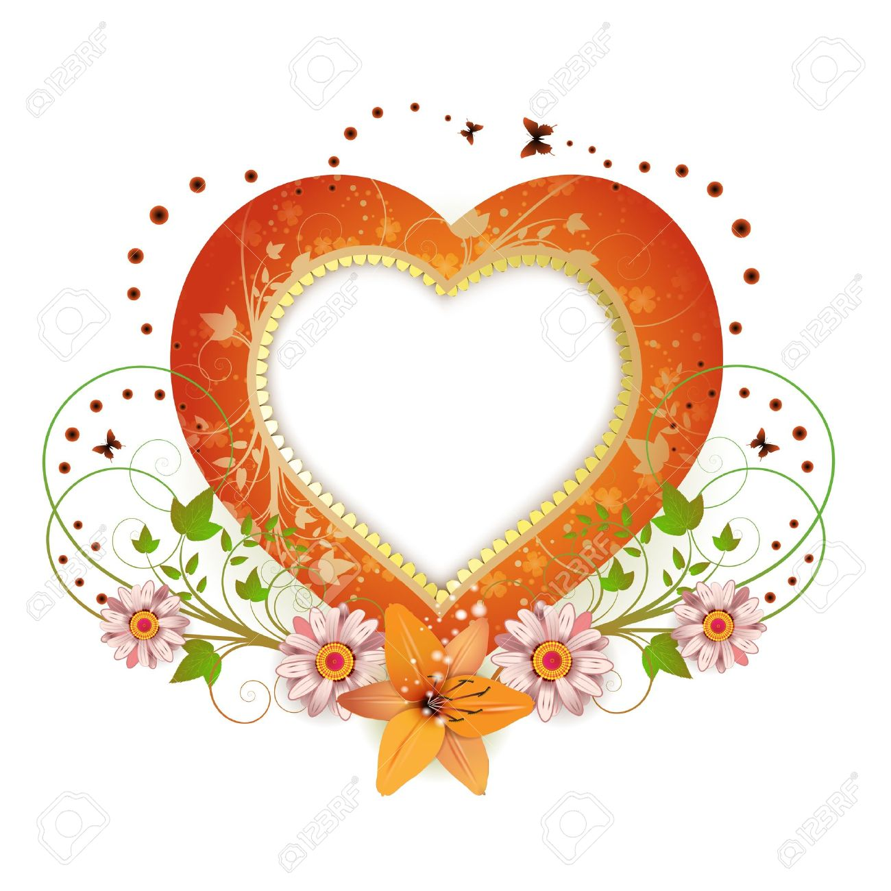 frame background with heart shape and flowers royalty free, Beautiful flower