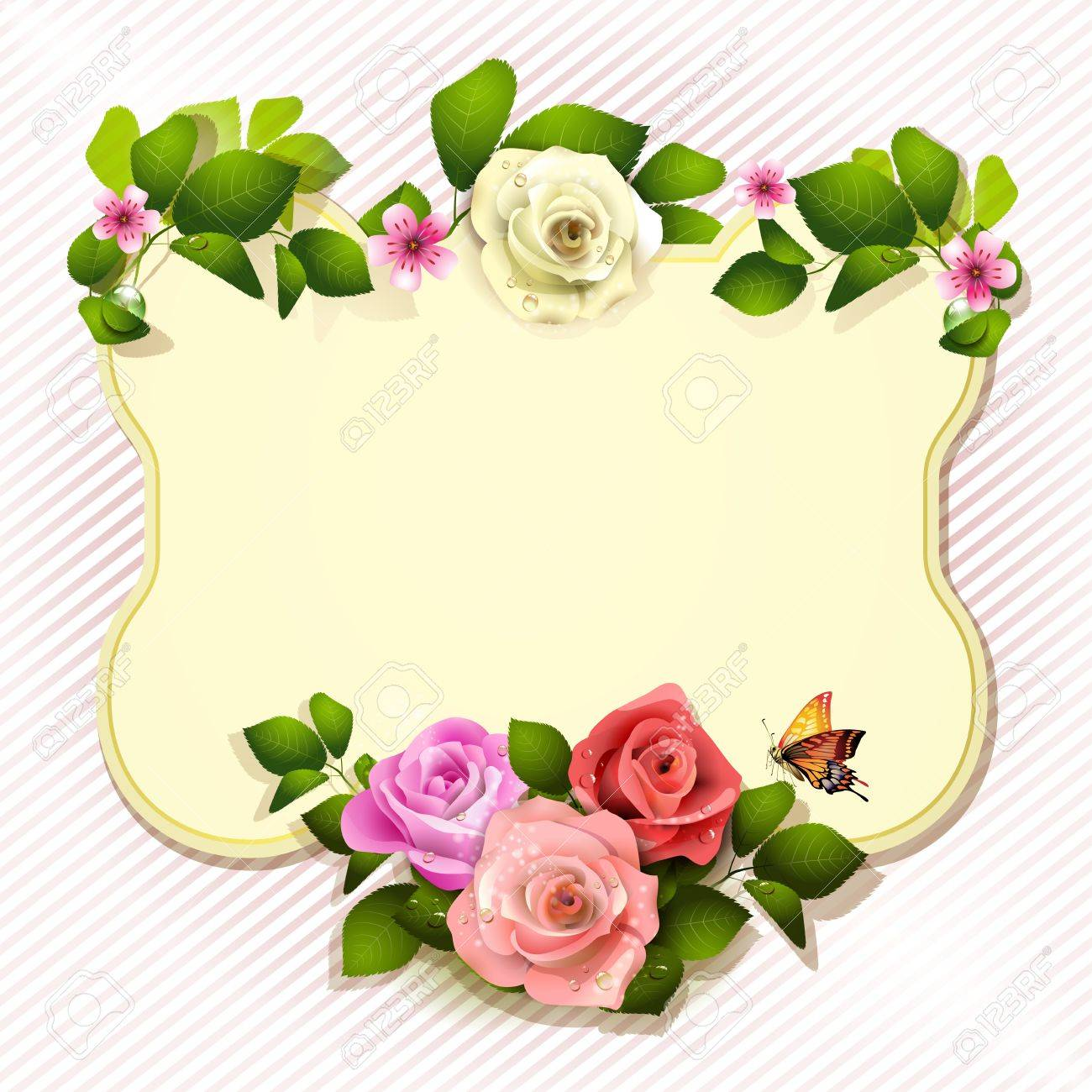 Mirror with roses and butterfly Stock Vector - 13133884