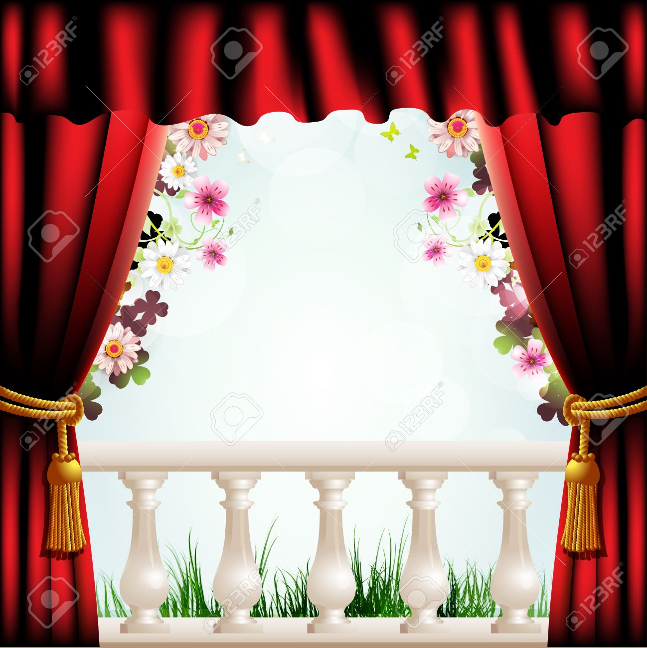 Railing With Columns And Red Curtain Royalty Free Cliparts ...