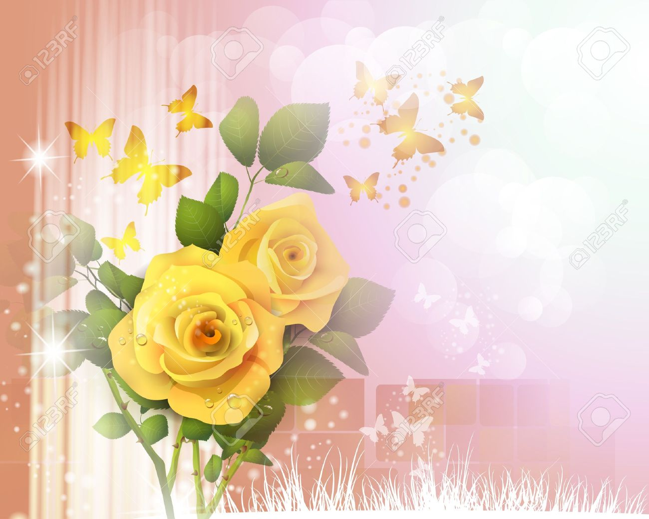 Background with roses and butterflies Stock Vector - 14499436