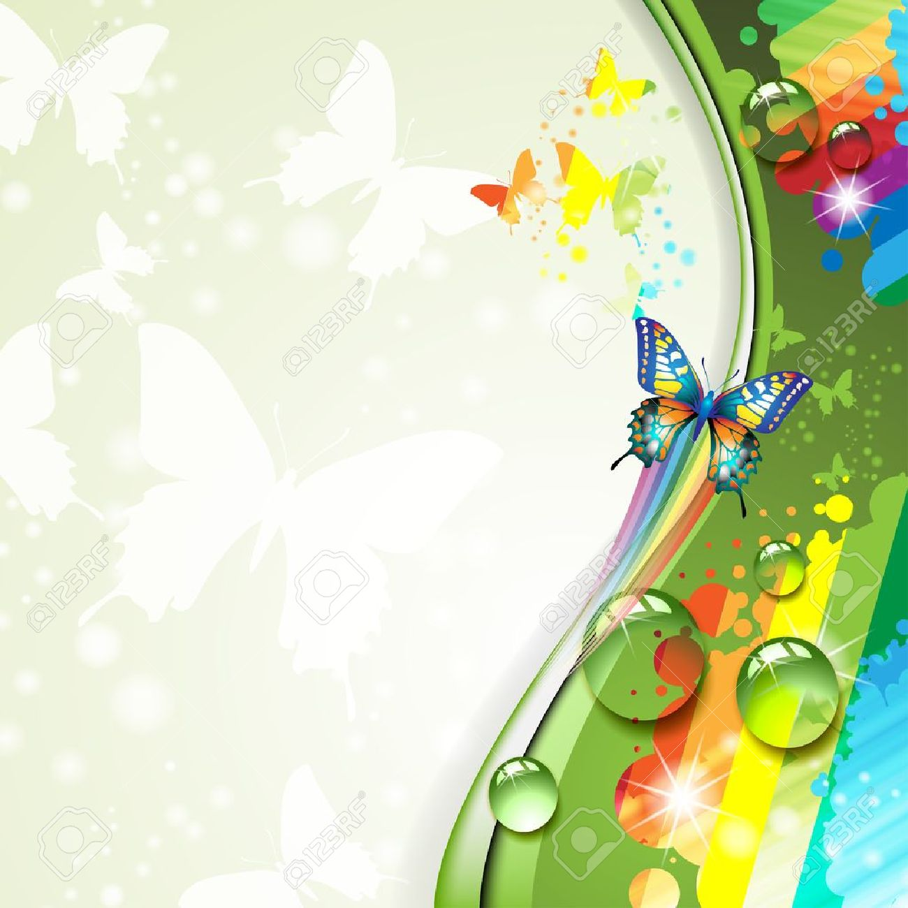 Colorful background with butterfly Stock Vector - 14499431