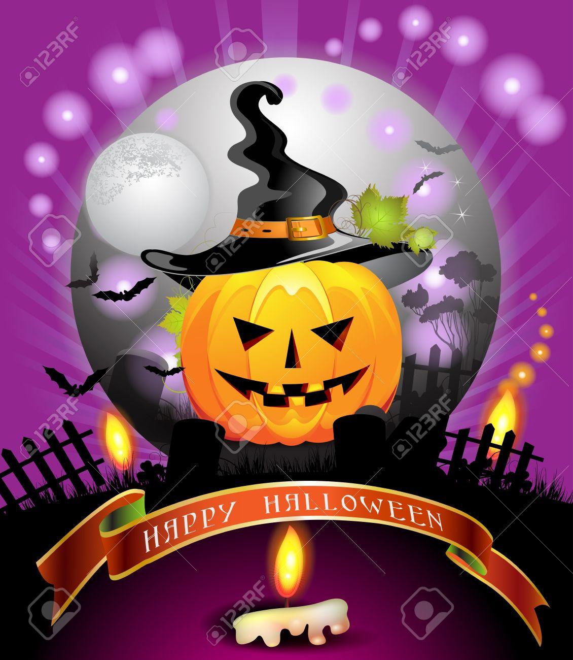 Halloween card design with pumpkin Stock Vector - 14958010