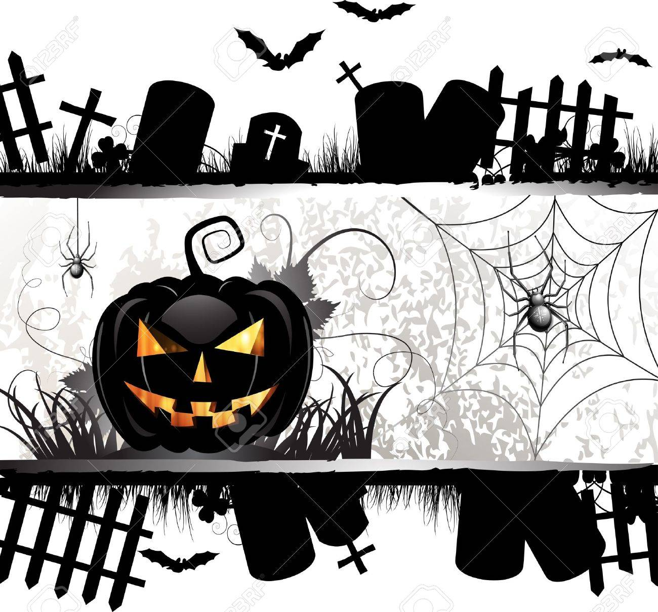 halloween card design with pumpkin and ghost house royalty free