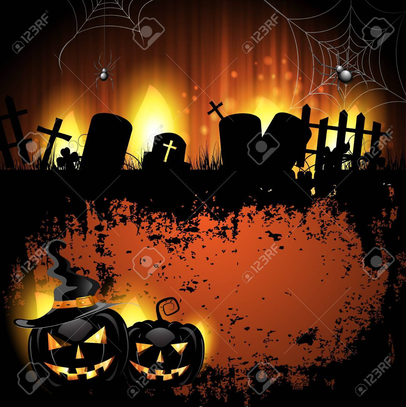 Halloween background with cemetery and pumpkin Stock Vector - 14958037
