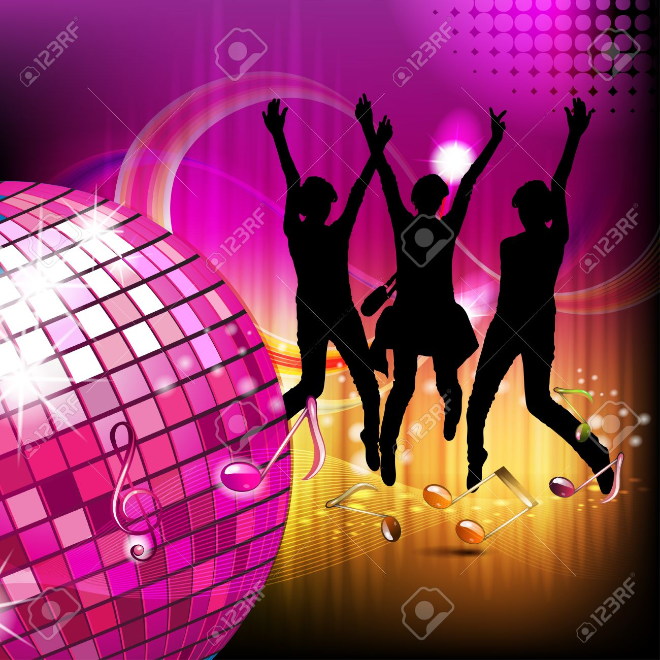 Musical notes with disco ball and silhouettes Stock Vector - 15502506
