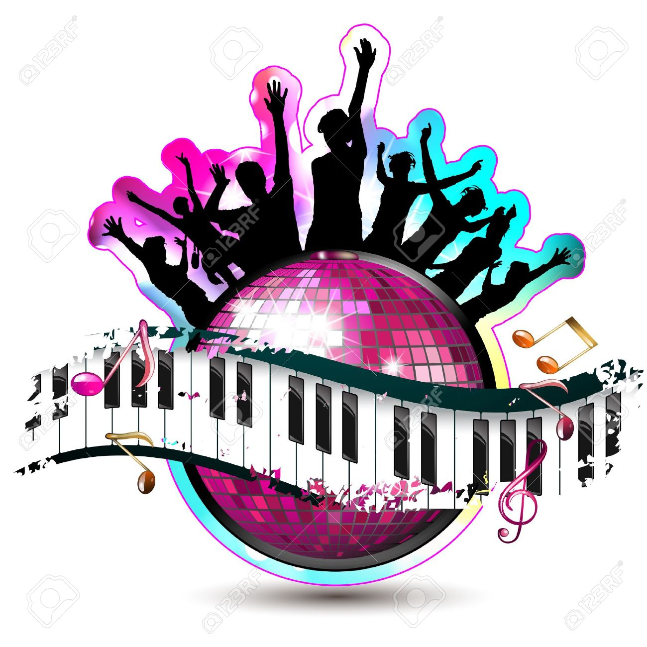 Piano keys with dancing silhouettes and disco ball Stock Vector - 15502486